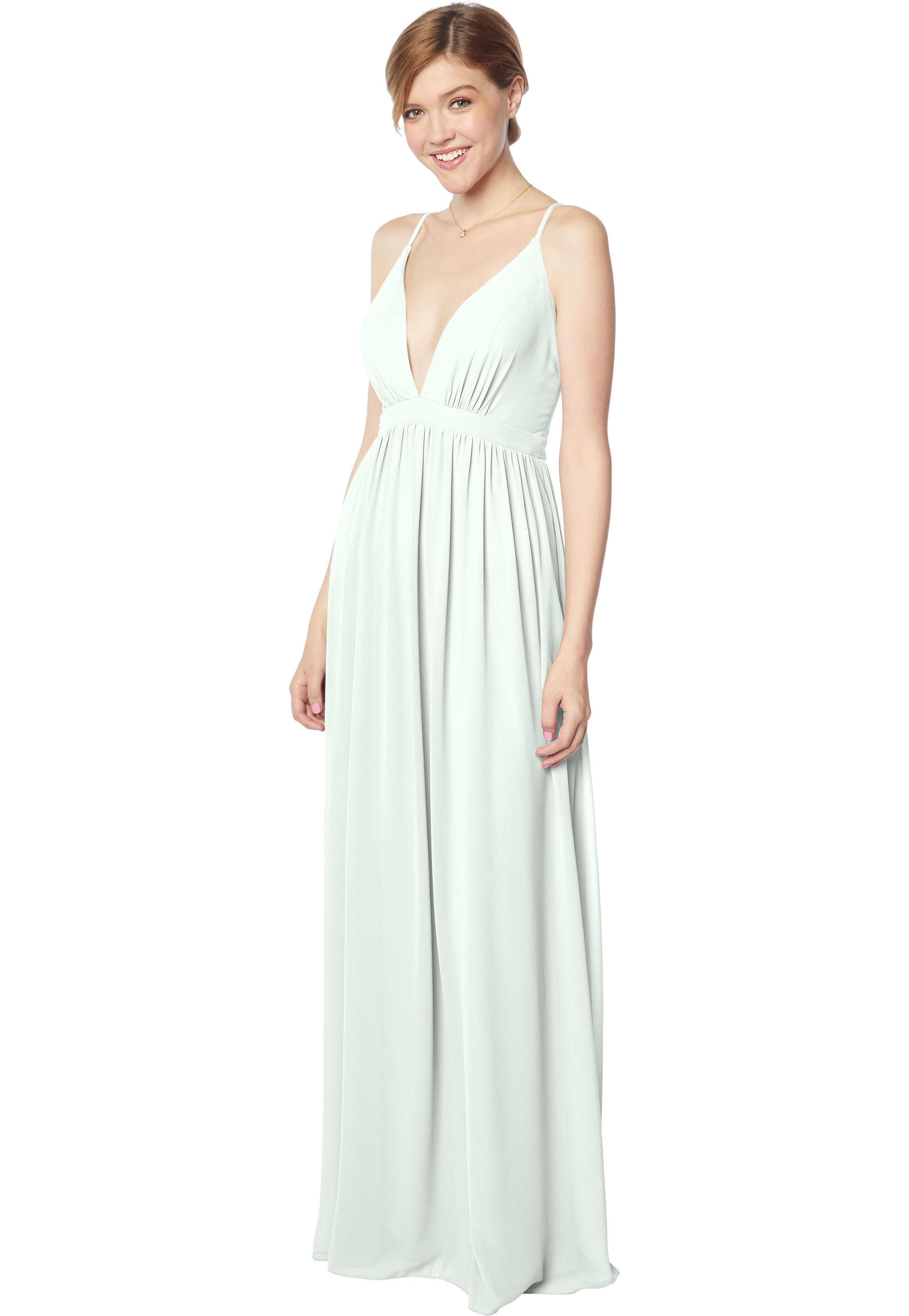 Bill Levkoff SEA FOAM Chiffon V-neck A-line gown, $170.00 Front