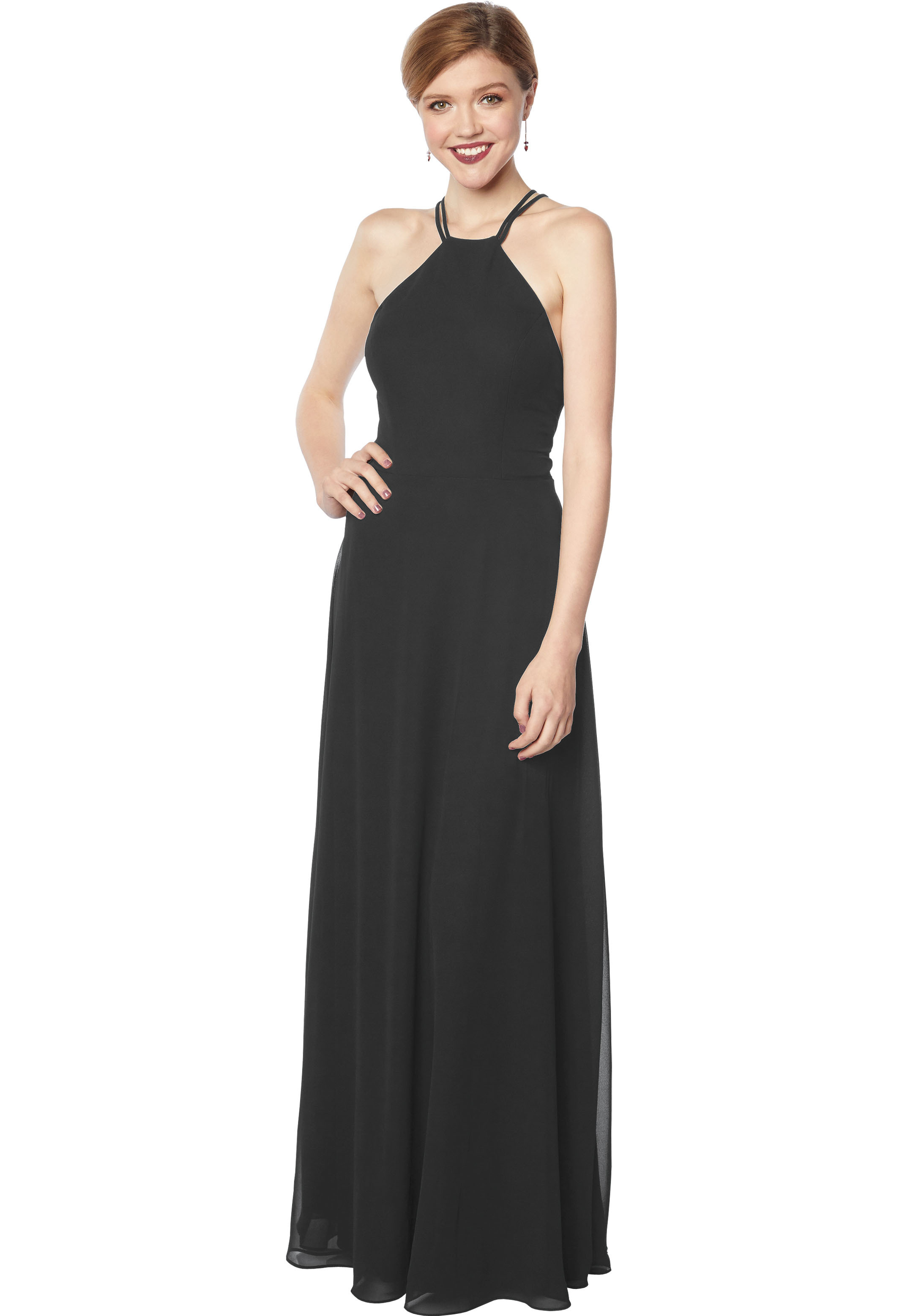 Bill Levkoff CHARCOAL Chiffon Sleeveless A-line gown, $178.00 Front