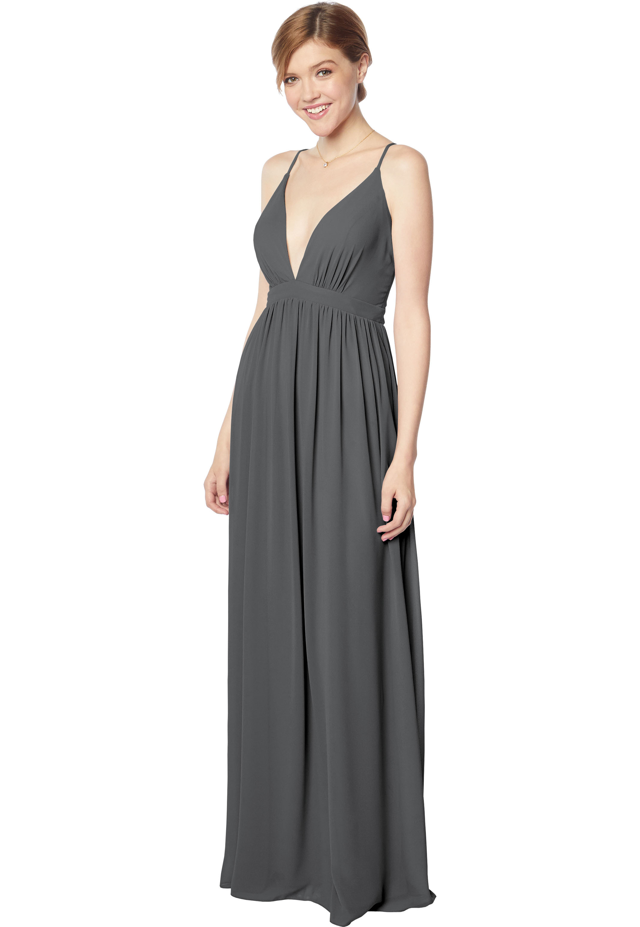 Bill Levkoff CHARCOAL Chiffon V-neck A-line gown, $170.00 Front