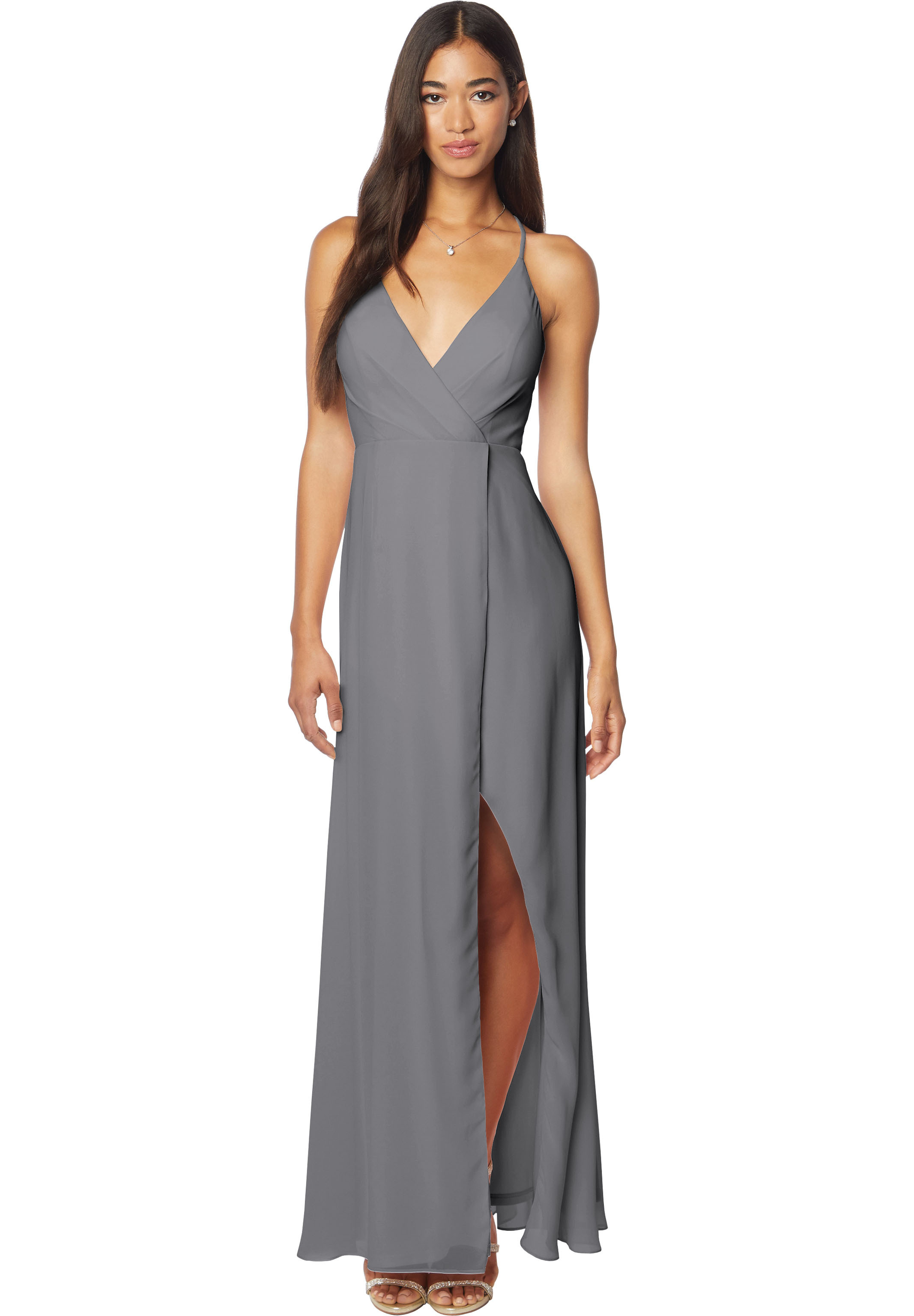 Bill Levkoff PEWTER Chiffon V-neck A-line gown, $170.00 Front