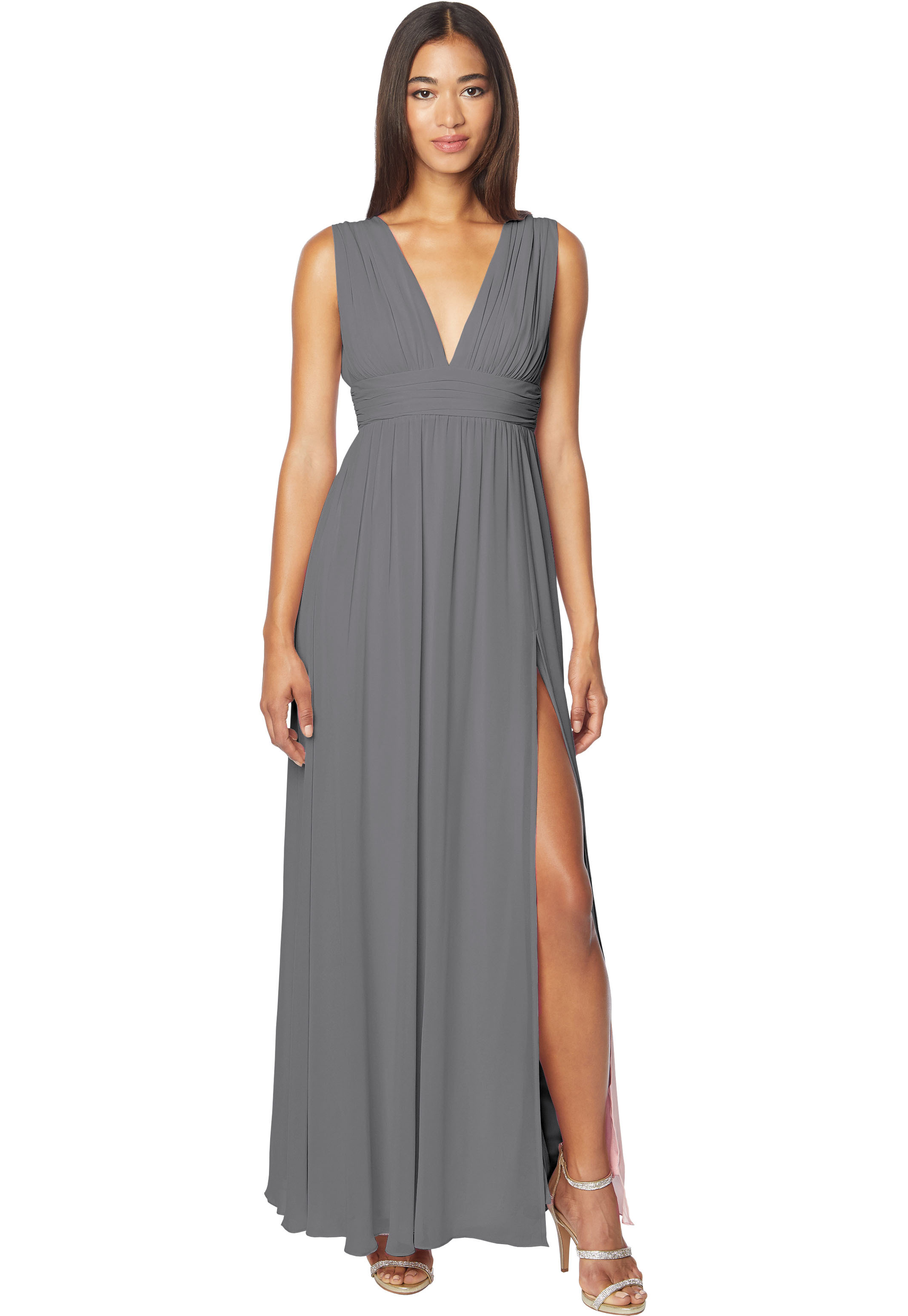Bill Levkoff PEWTER Chiffon Sleeveless A-line gown, $178.00 Front