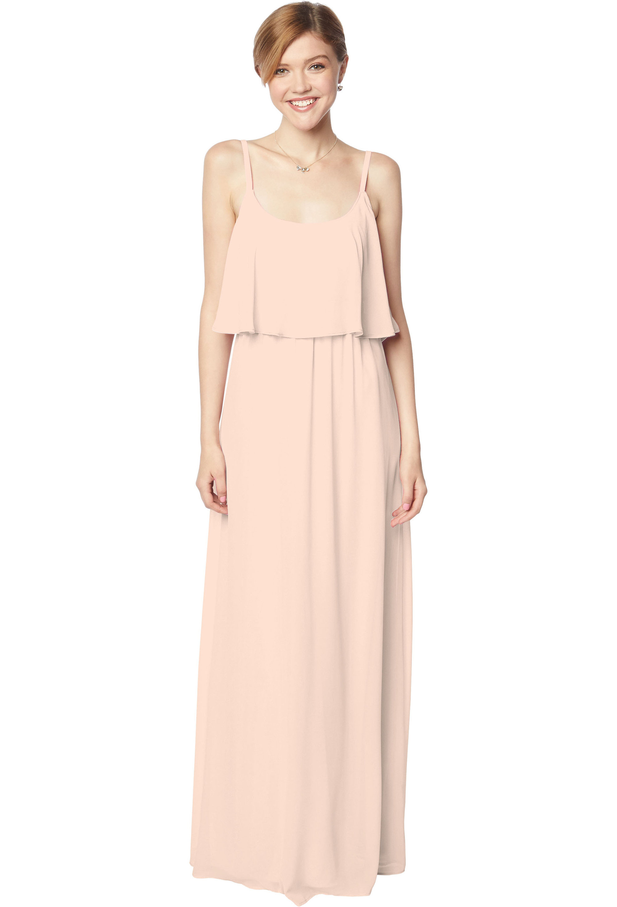 Bill Levkoff SHELL PINK Chiffon Scoop A-line gown, $170.00 Front