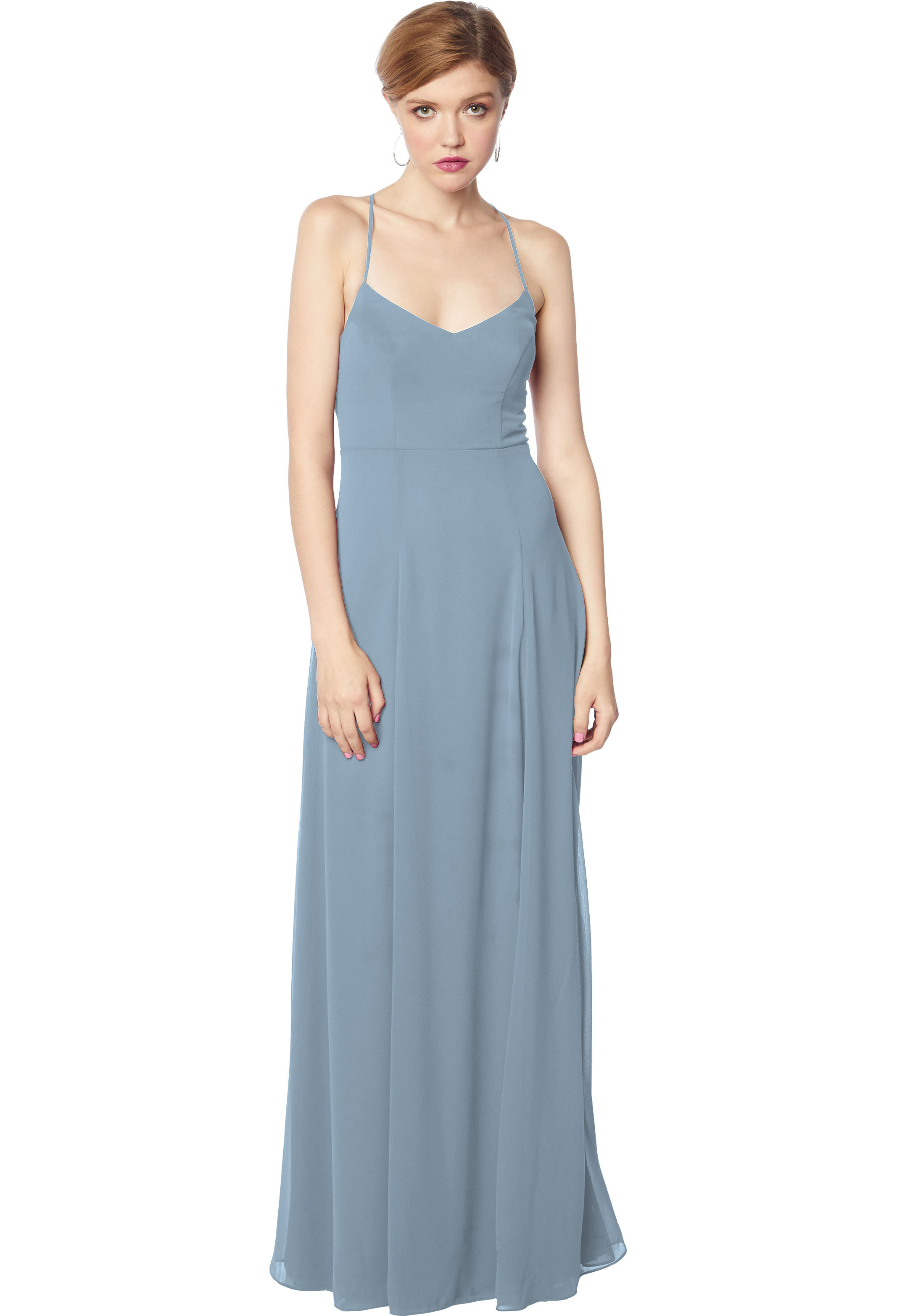 Bill Levkoff SLATE Chiffon V-neck Natural Waist gown, $144.50 Front