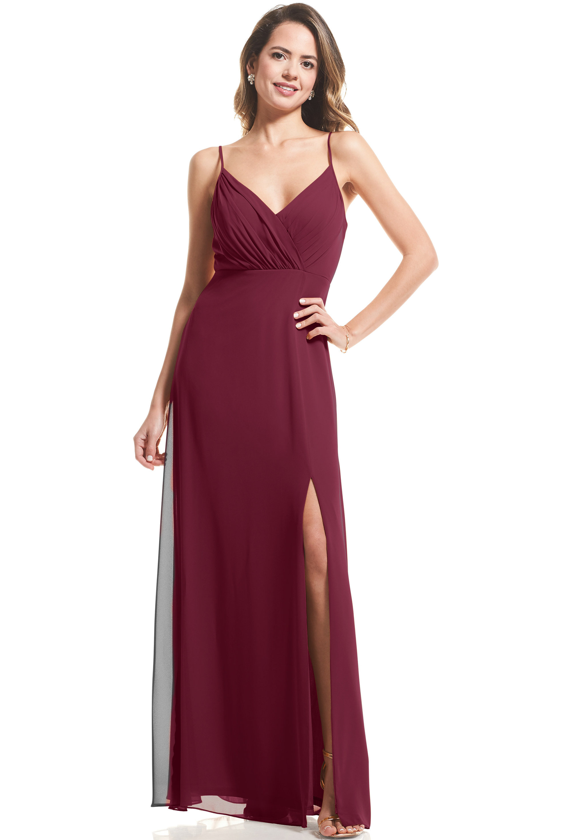 Bill Levkoff SANGRIA Chiffon Surplice A-Line gown, $89.00 Front