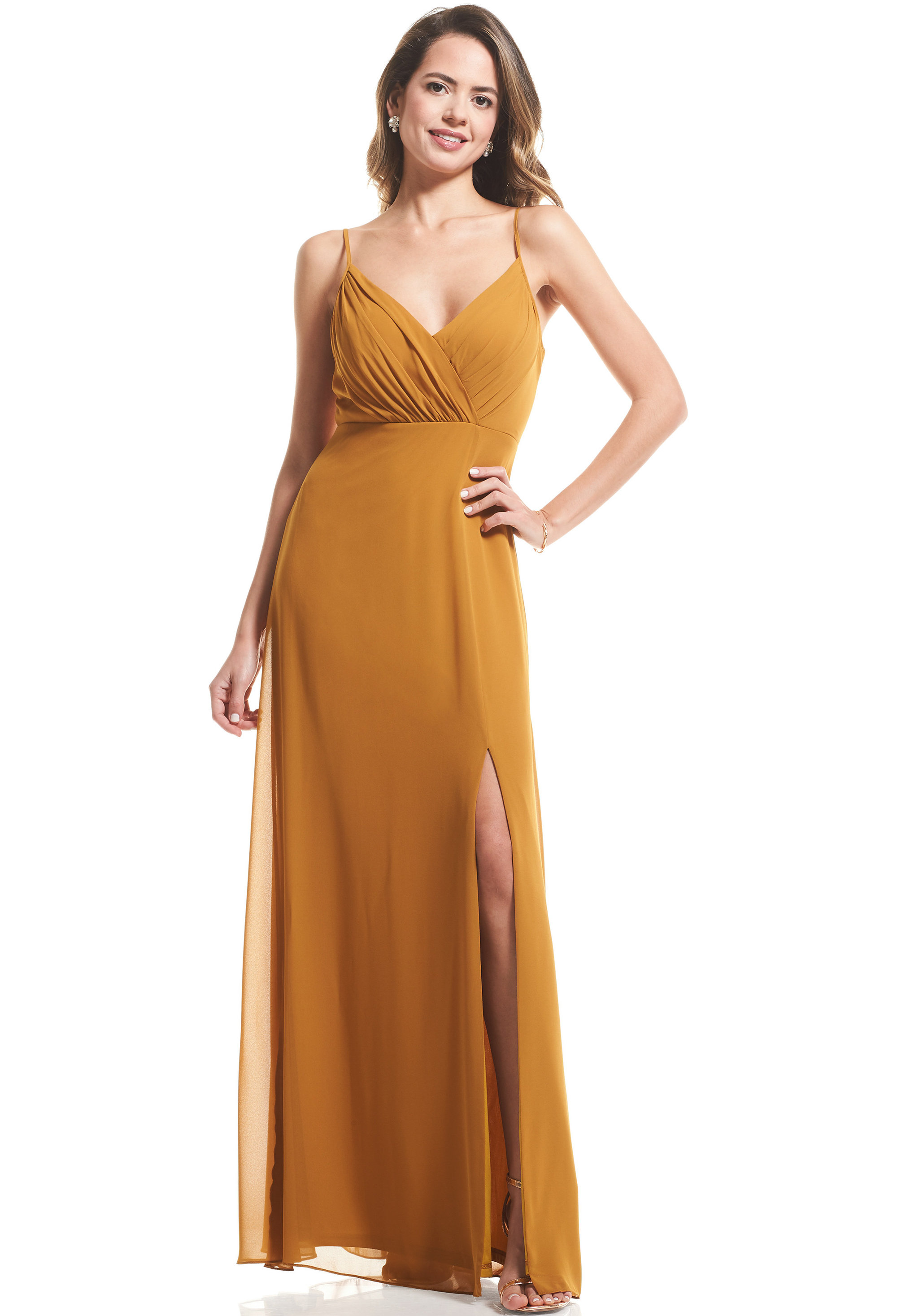 Bill Levkoff GOLD Chiffon Surplice A-Line gown, $89.00 Front