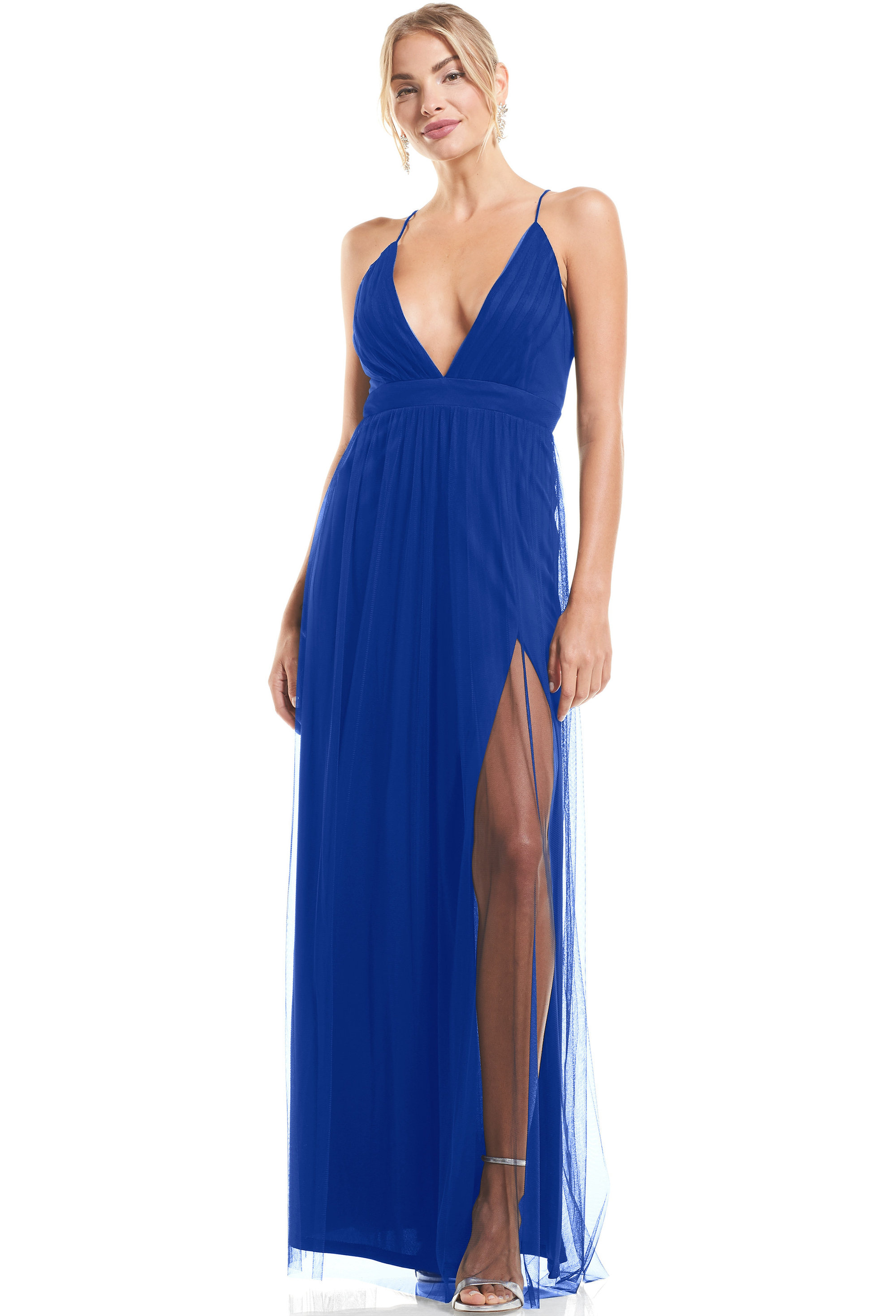 Bill Levkoff HORIZON English Net V-neck A-Line gown, $79.00 Front