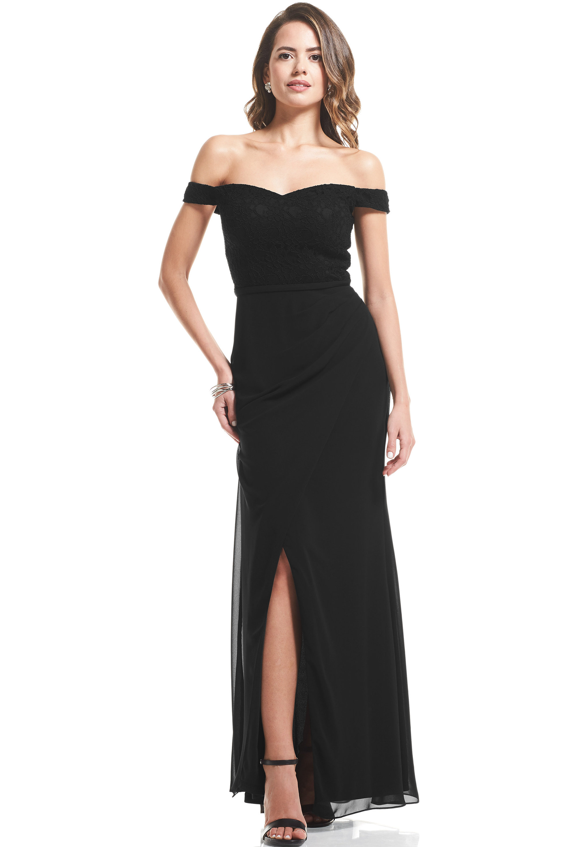 Bill Levkoff BLACK Chiffon, Lace Sweetheart A-Line gown, $99.00 Front