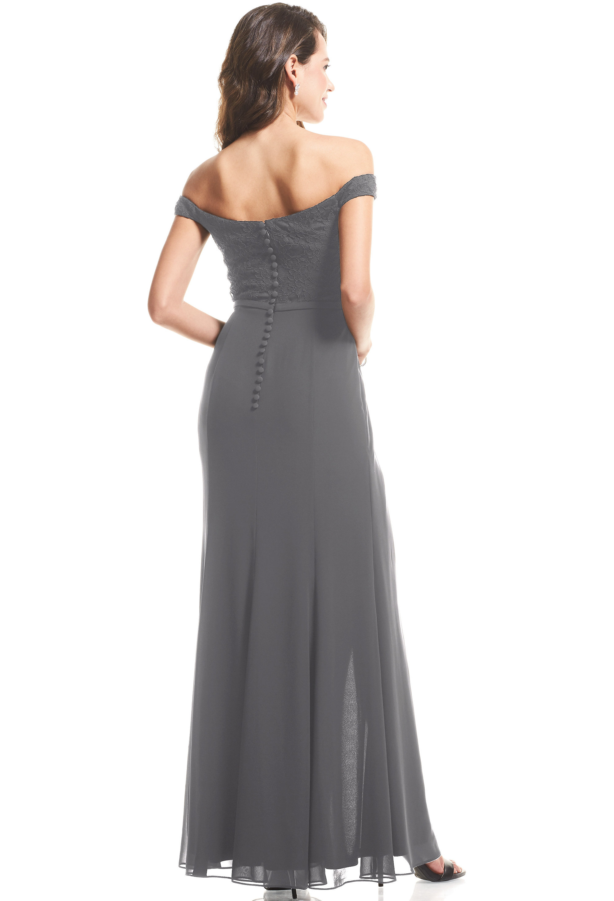 Bill Levkoff PEWTER Chiffon, Lace Sweetheart A-Line gown, $99.00 Back