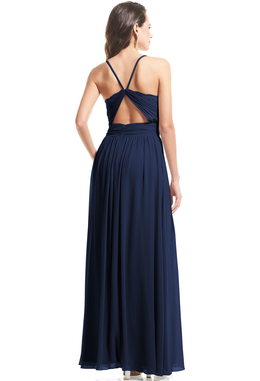 Bill Levkoff NAVY Stretch Velvet Surplice A-Line gown, $99.00 Back