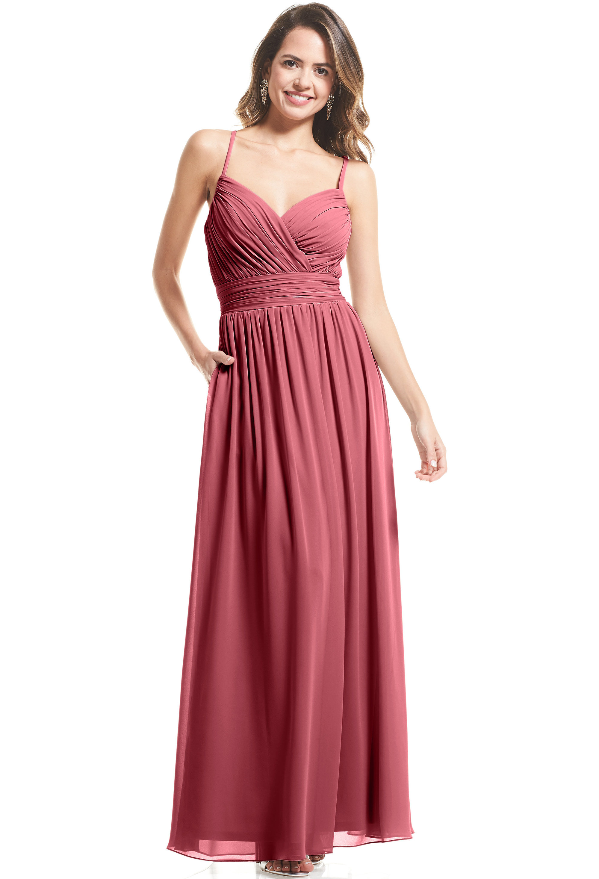 Bill Levkoff ROSEWOOD Stretch Velvet Surplice A-Line gown, $99.00 Front