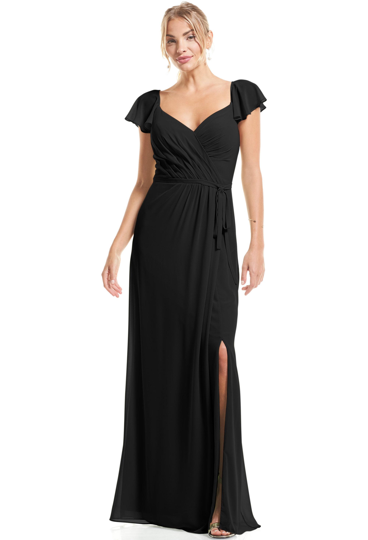 Bill Levkoff BLACK Chiffon Flutter Sleeve A-Line gown, $89.00 Front