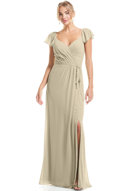 Bill Levkoff PISTACHIO Chiffon Flutter Sleeve A-Line gown, $89.00 Front