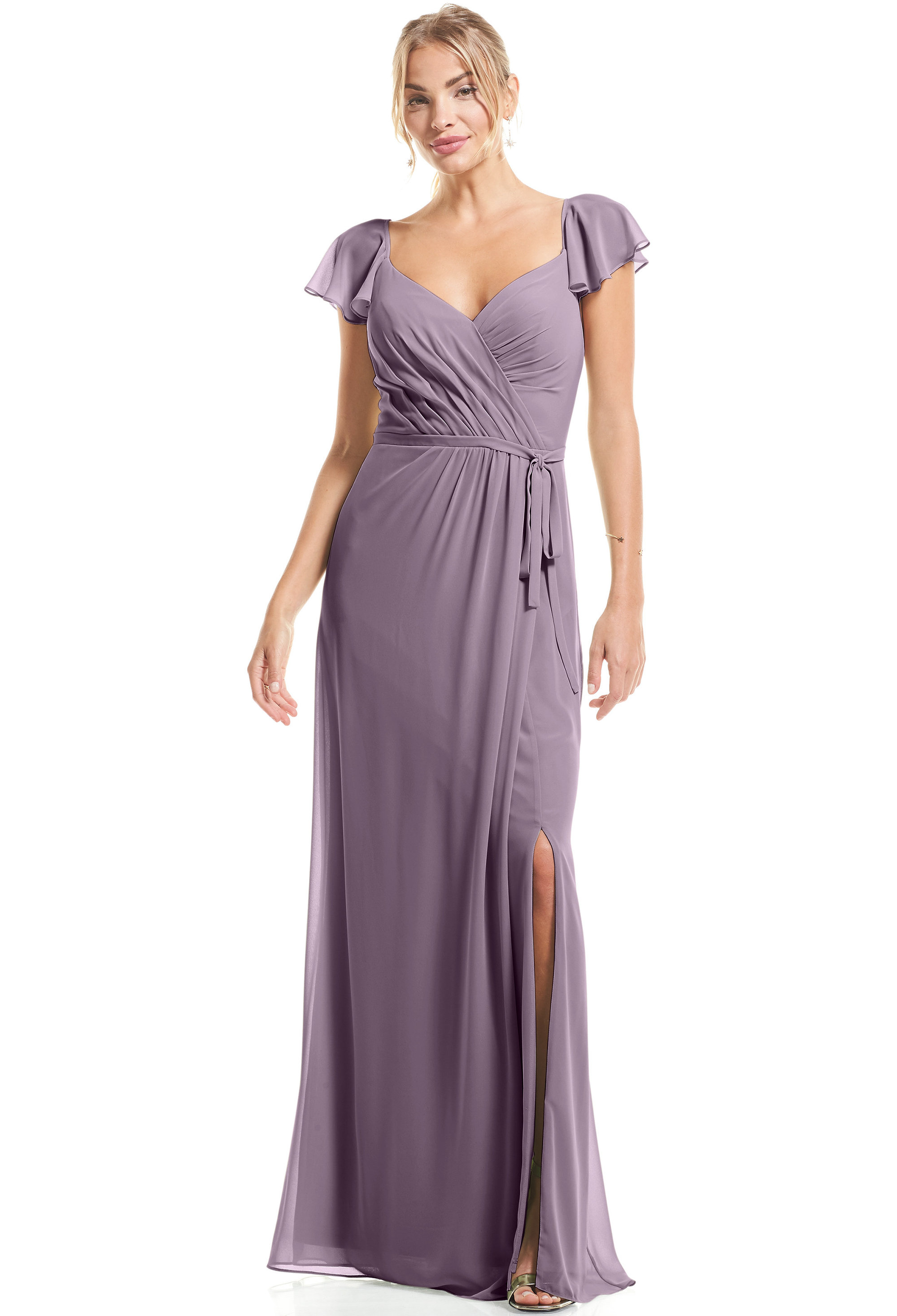 Bill Levkoff VICTORIAN LILAC Chiffon Flutter Sleeve A-Line gown, $89.00 Front