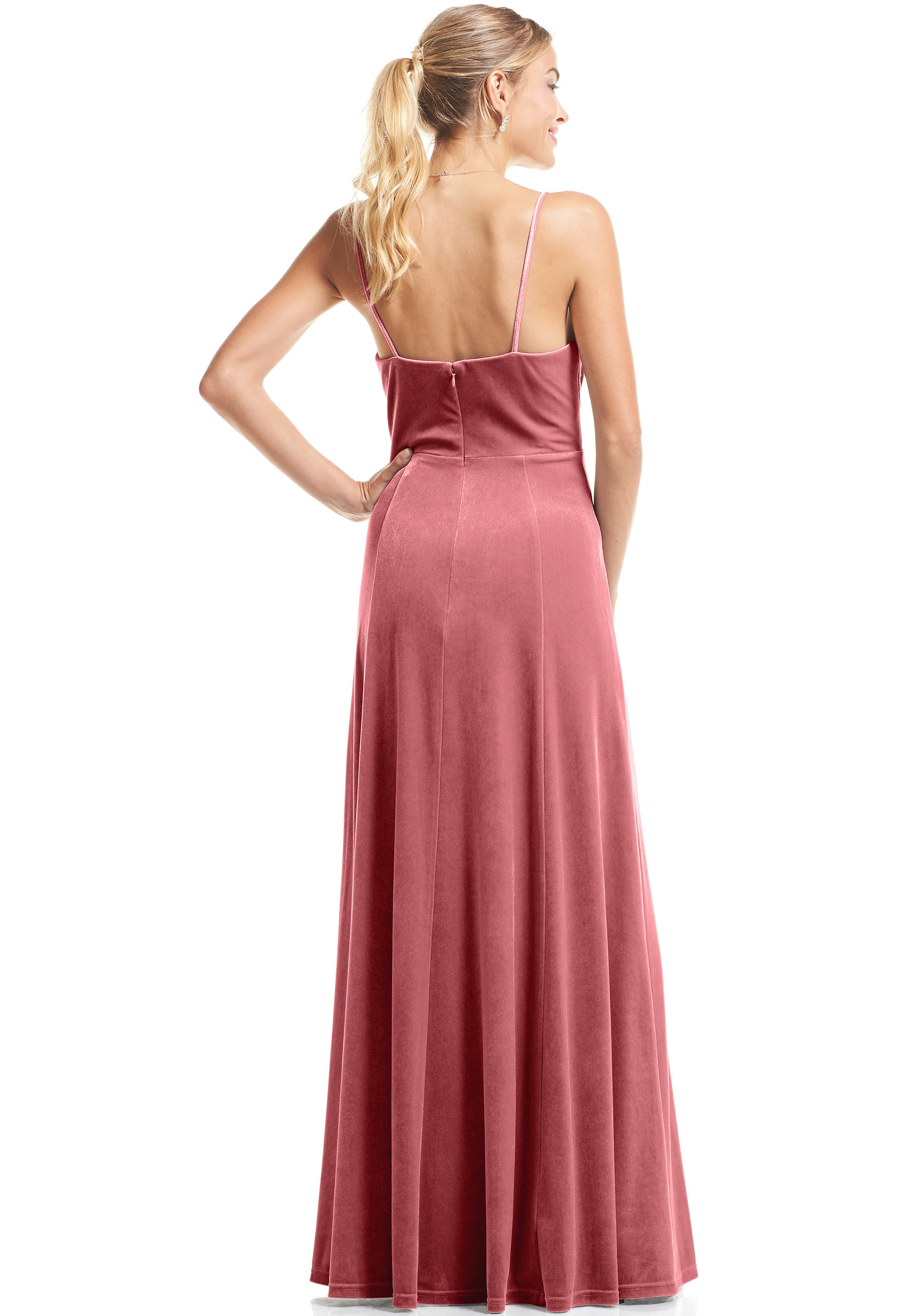 Bill Levkoff ROSE Chiffon, Lace V-neck A-Line gown, $99.00 Back
