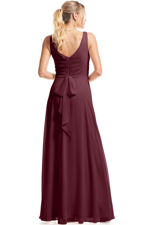 Bill Levkoff WINE Chiffon Surplice A-Line gown, $89.00 Back