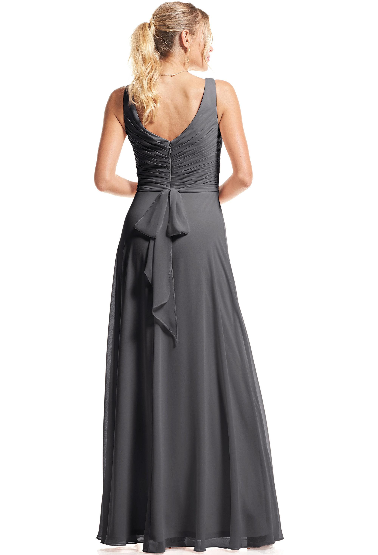 Bill Levkoff PEWTER Chiffon Surplice A-Line gown, $89.00 Back