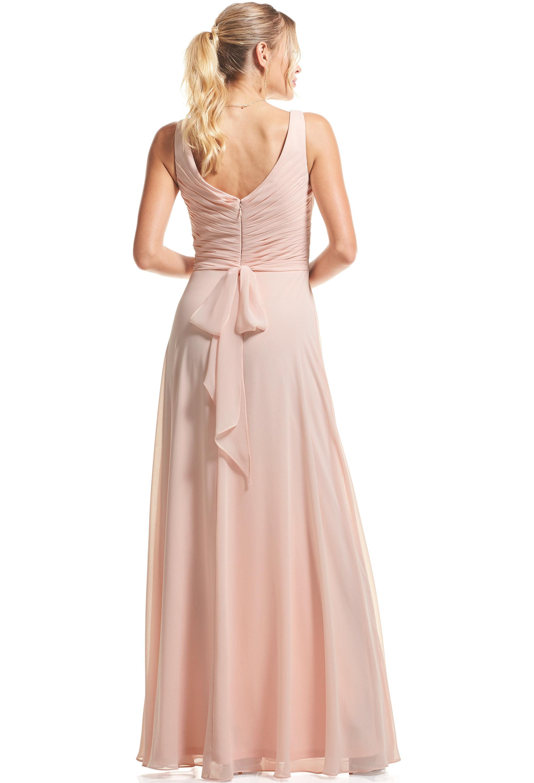Bill Levkoff SHELL PINK Chiffon Surplice A-Line gown, $89.00 Back