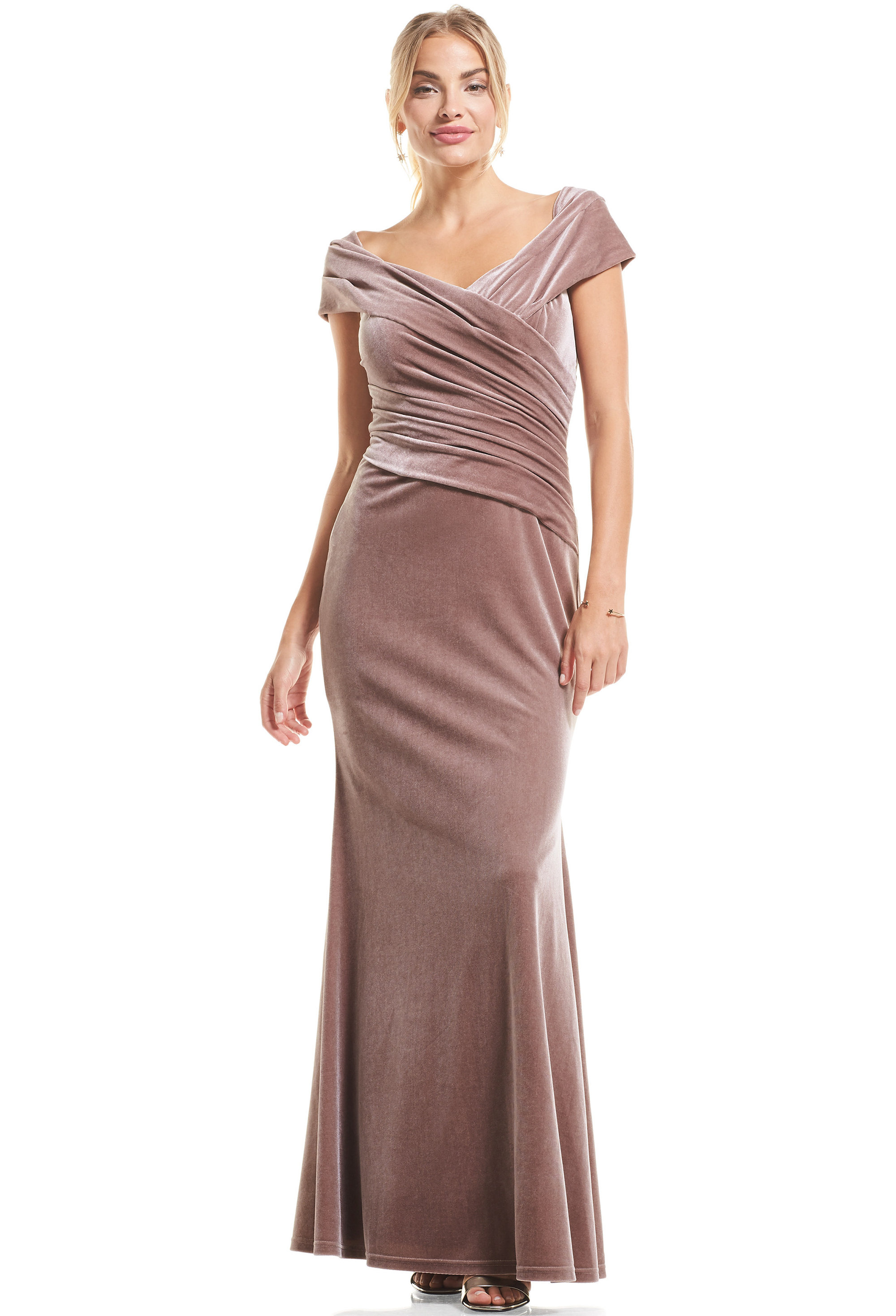 Bill Levkoff DUSTY ROSE Stretch Velvet Cap Sleeve A-Line gown, $119.00 Front
