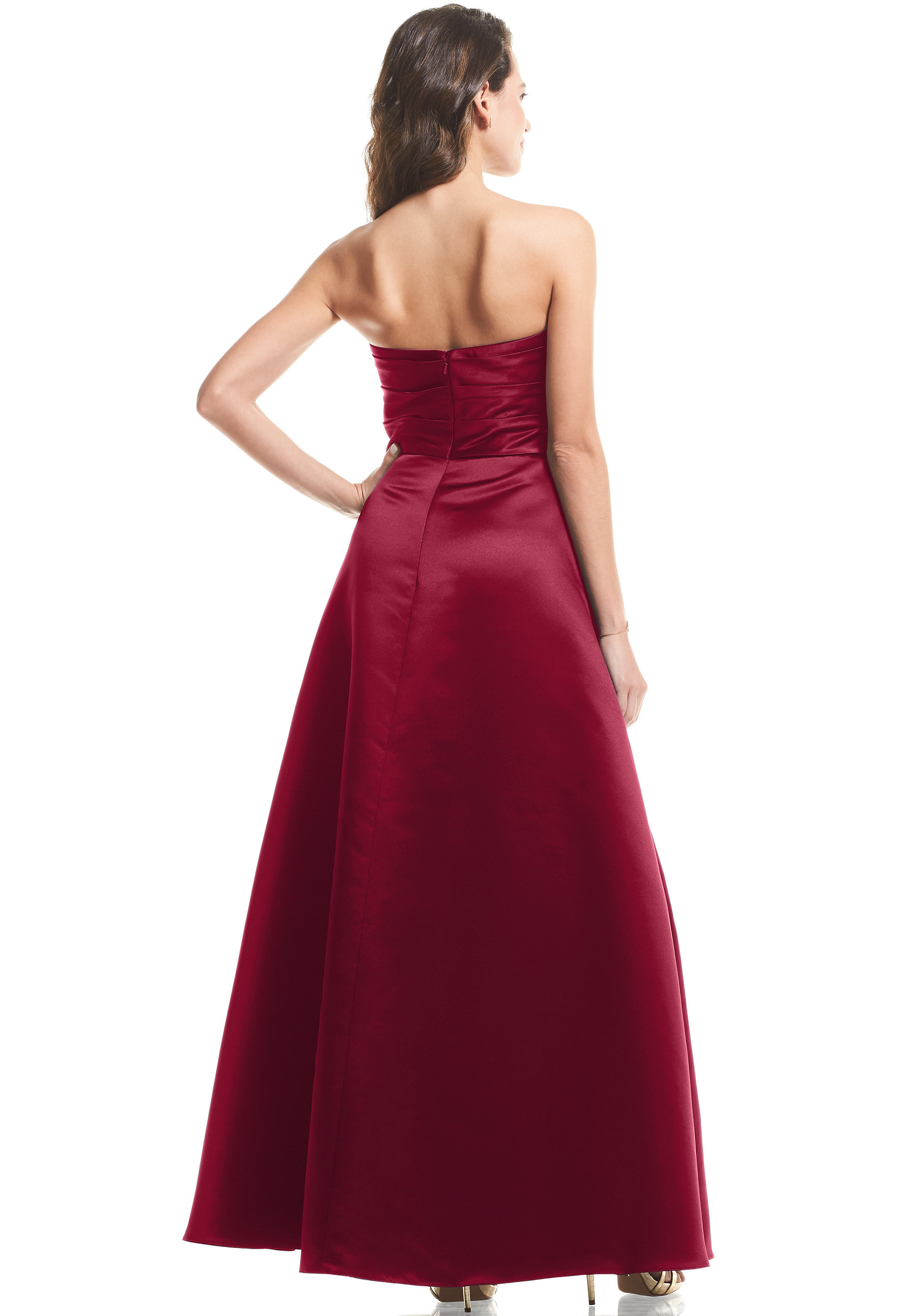 Bill Levkoff EURO RED European Satin Strapless A-Line gown, $99.00 Back