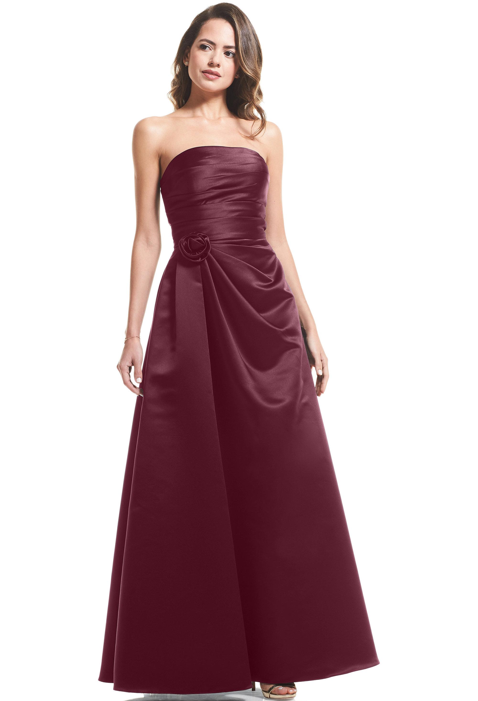 Bill Levkoff EURO WINE European Satin Strapless A-Line gown, $99.00 Front