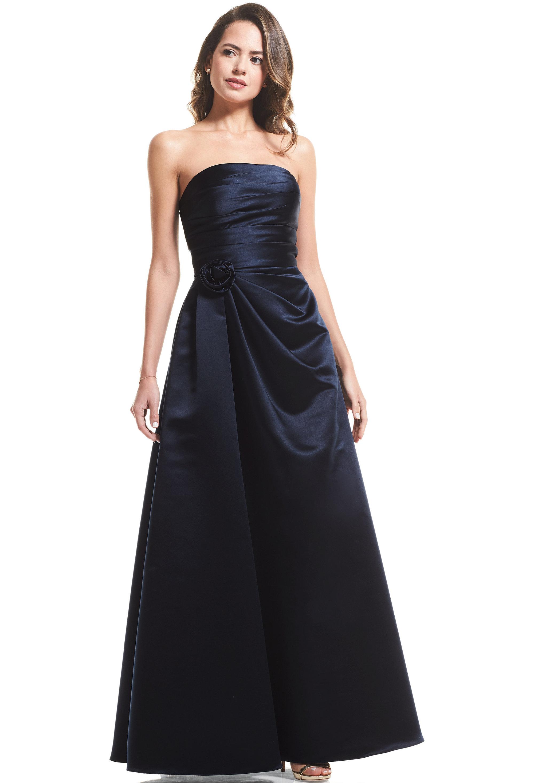 Bill Levkoff EURO NAVY European Satin Strapless A-Line gown, $99.00 Front