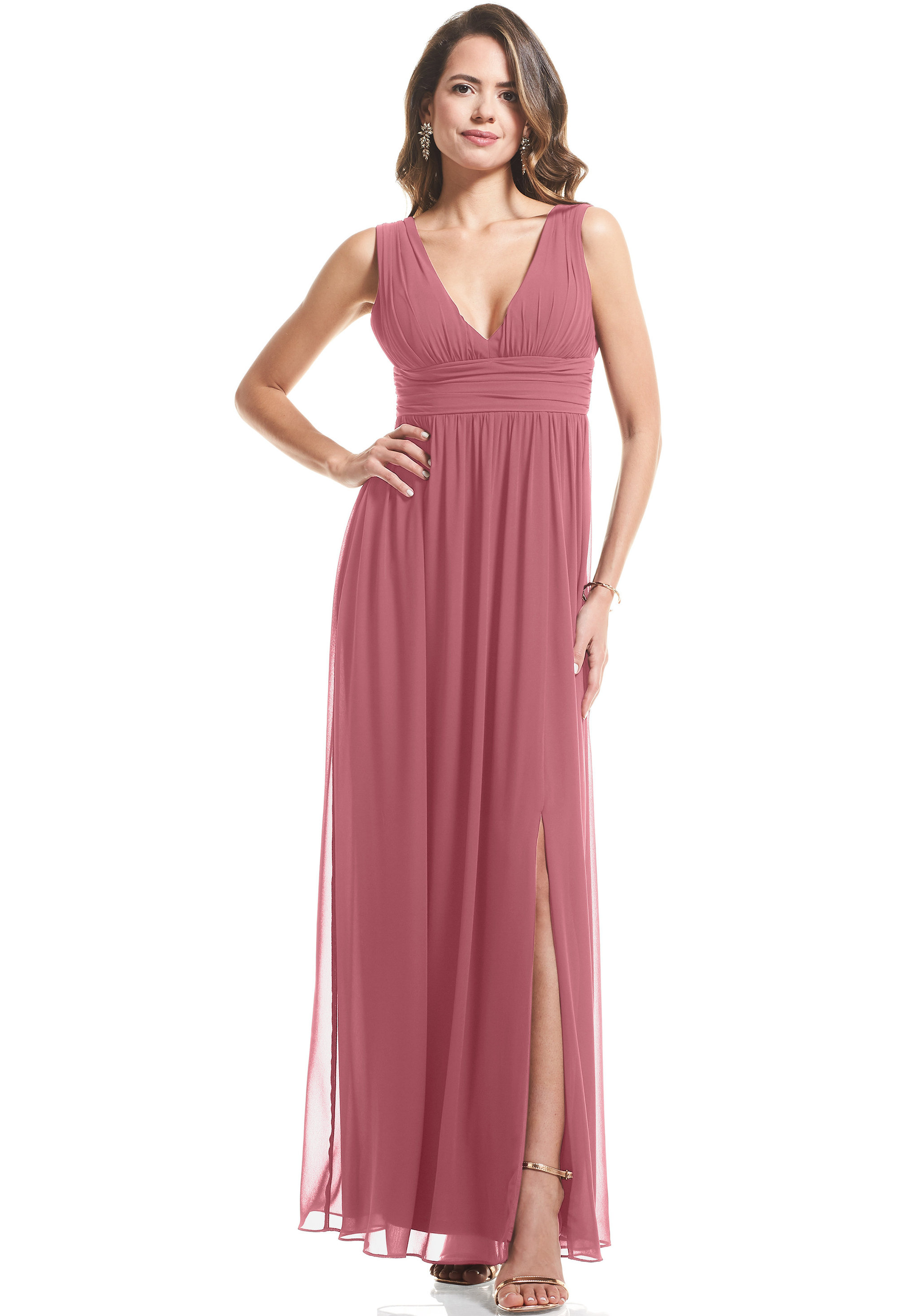 Bill Levkoff ROSEWOOD Chiffon V-neck A-Line gown, $89.00 Front