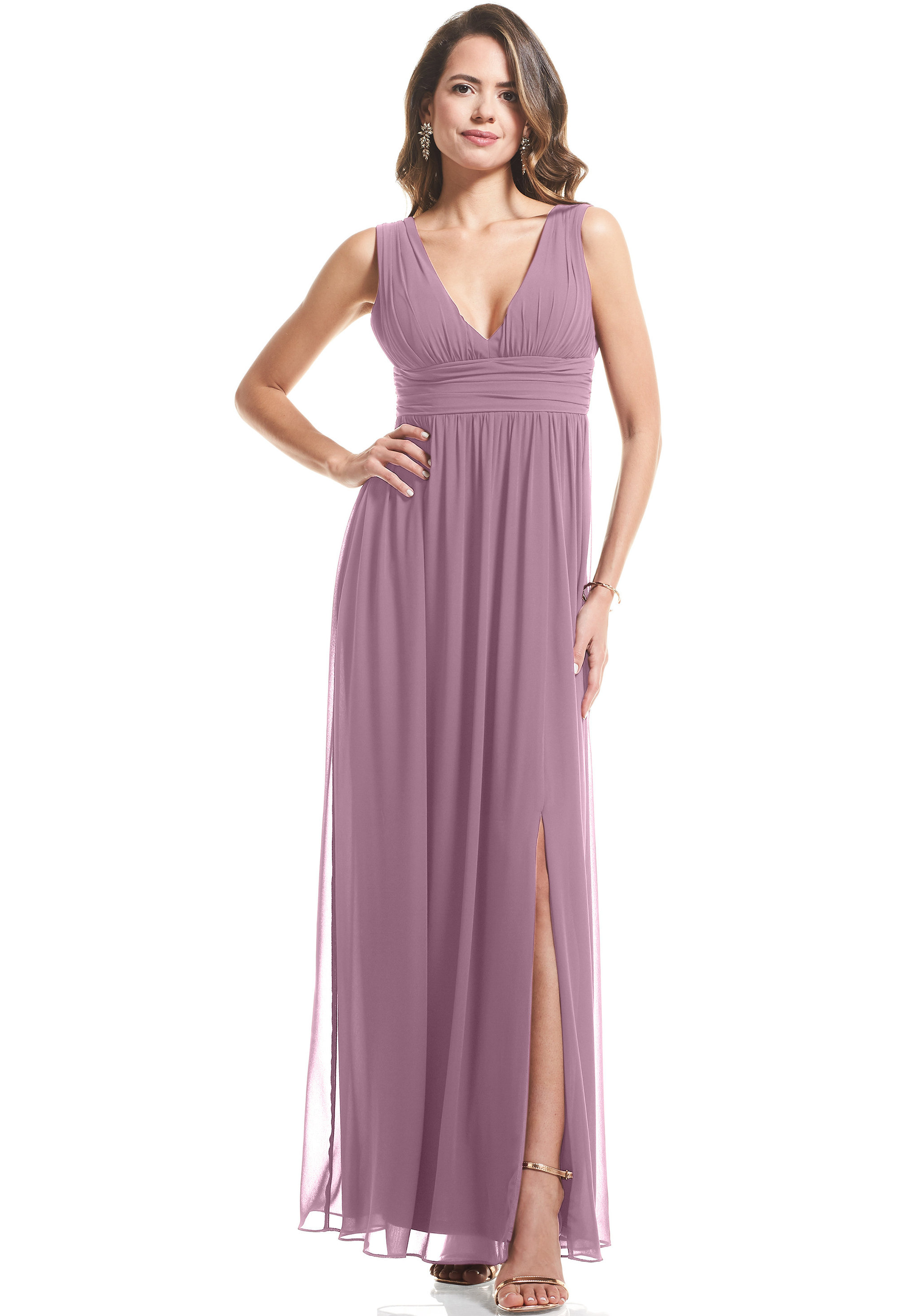 Bill Levkoff WISTERIA Chiffon V-neck A-Line gown, $89.00 Front