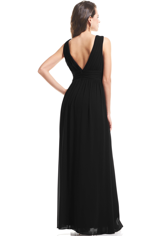 Bill Levkoff BLACK Chiffon V-neck A-Line gown, $89.00 Back