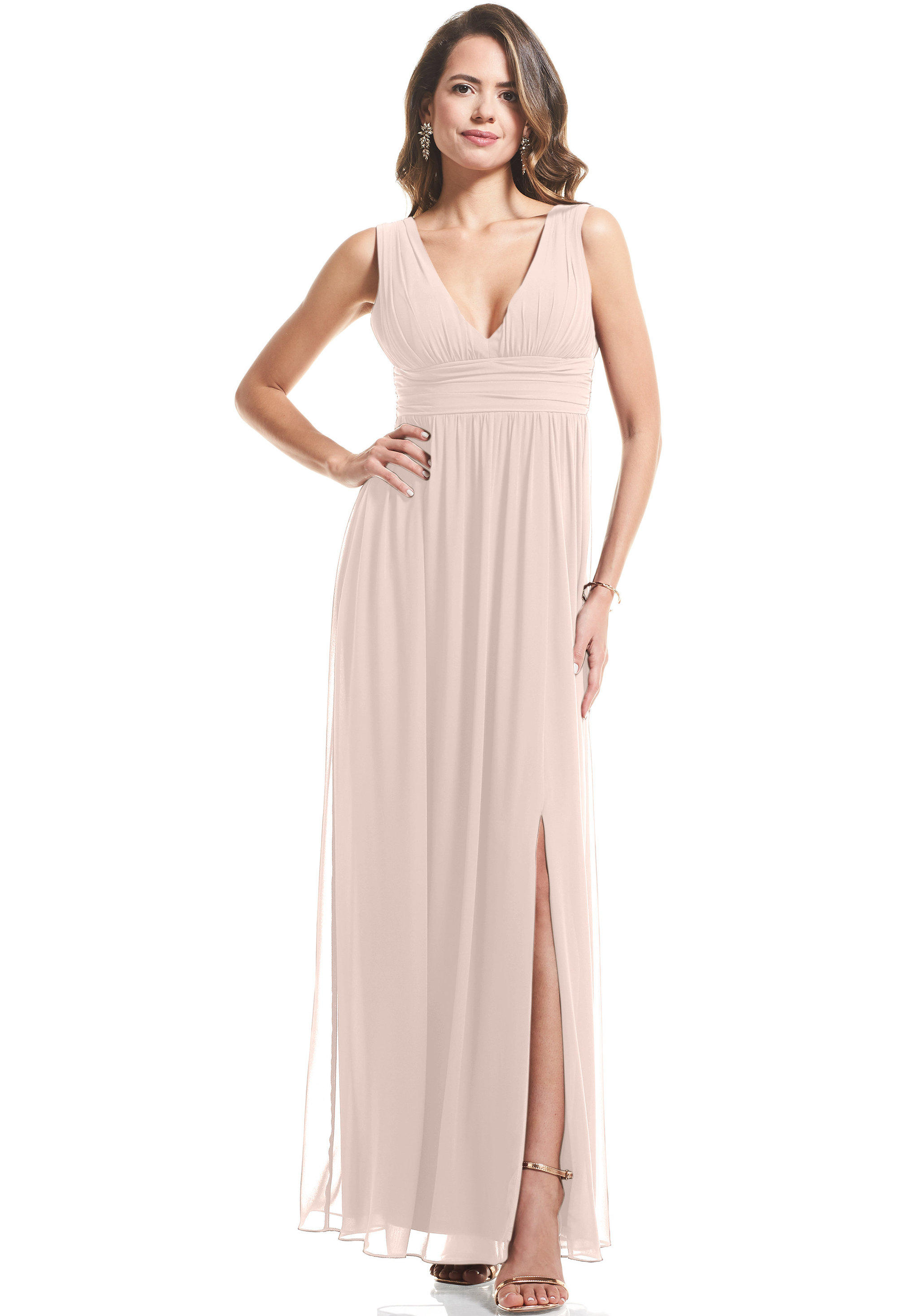 Bill Levkoff SHELL PINK Chiffon V-neck A-Line gown, $89.00 Front