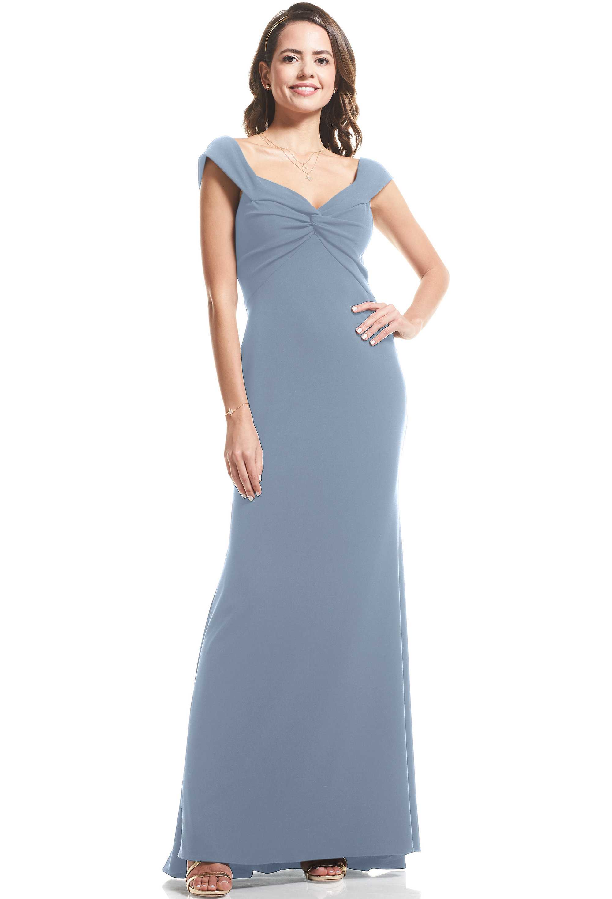 Bill Levkoff SLATE Stretch Crepe Sweetheart Mermaid gown, $99.00 Front