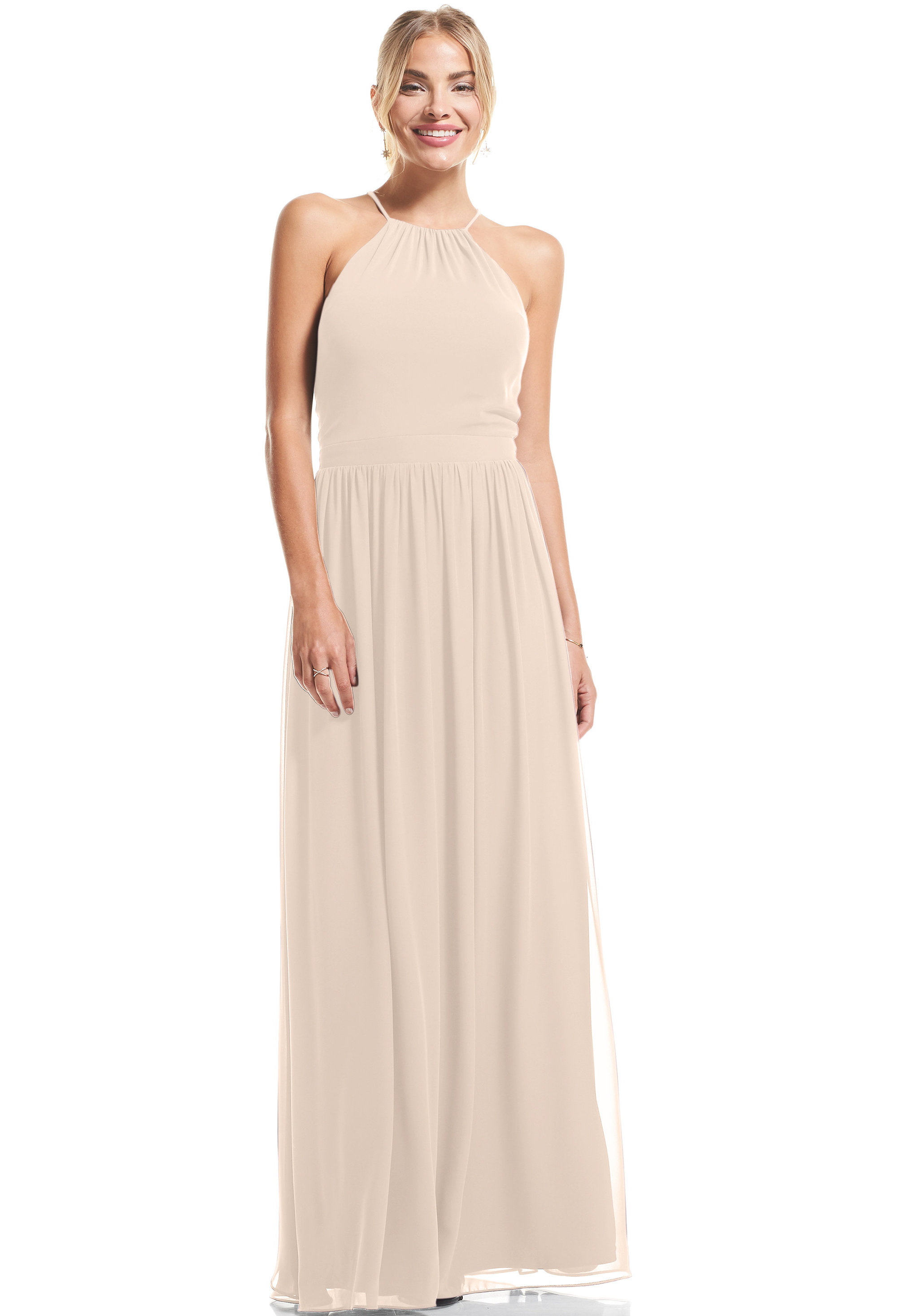 Bill Levkoff IVORY Chiffon Halter A-Line gown, $89.00 Front