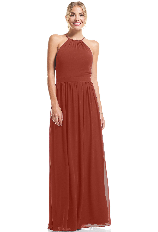 Bill Levkoff RUST Chiffon Halter A-Line gown, $89.00 Front