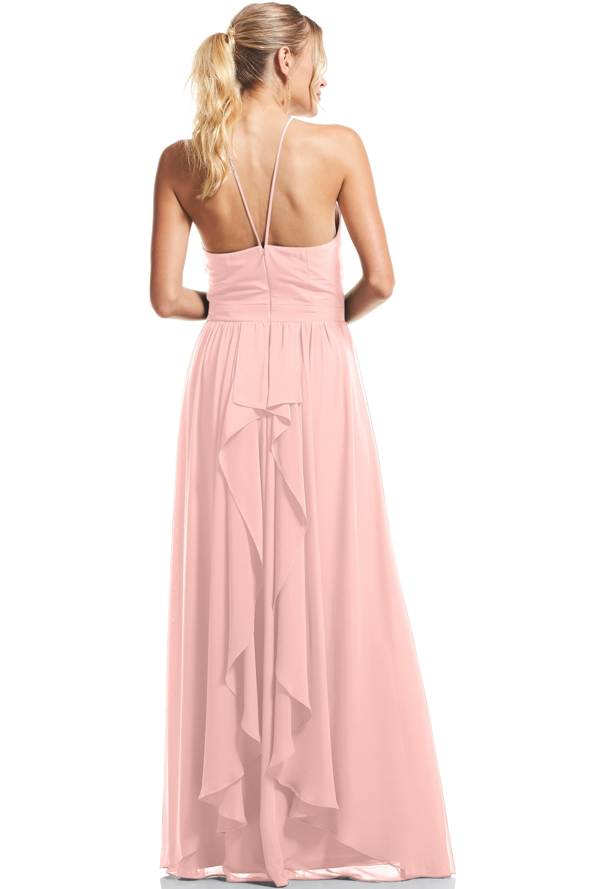Bill Levkoff FROST ROSE Chiffon Halter A-Line gown, $89.00 Back