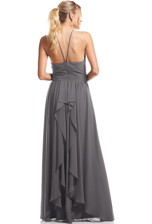 Bill Levkoff PEWTER Chiffon Halter A-Line gown, $89.00 Back