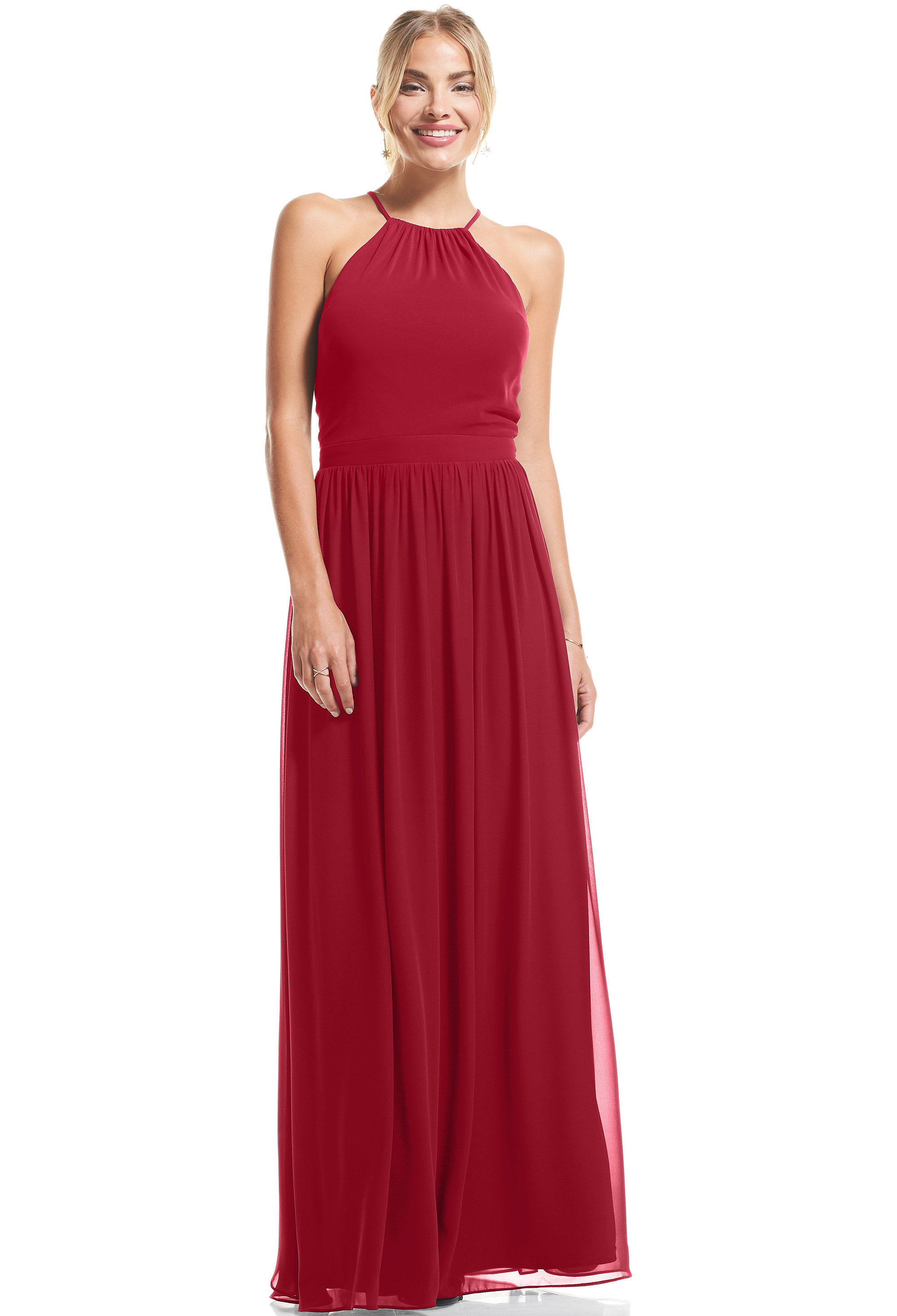 Bill Levkoff CRANBERRY Chiffon Halter A-Line gown, $89.00 Front