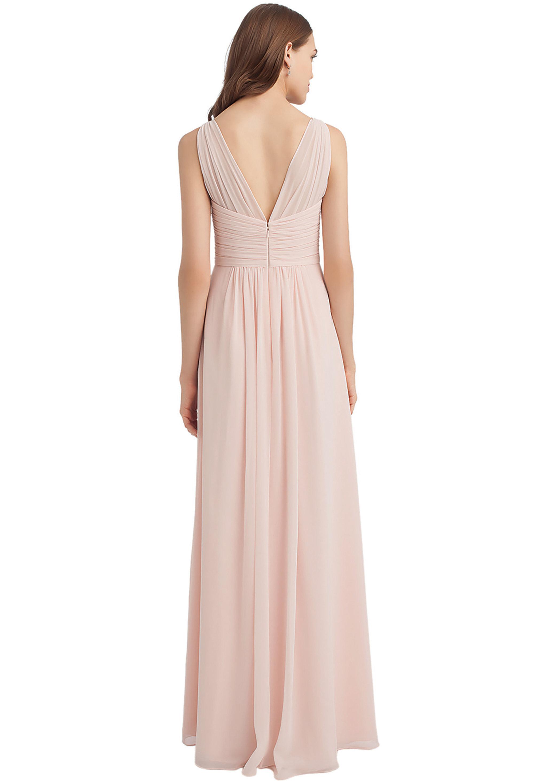 Bill Levkoff PEACH Chiffon V-back A-line gown, $224.00 Back