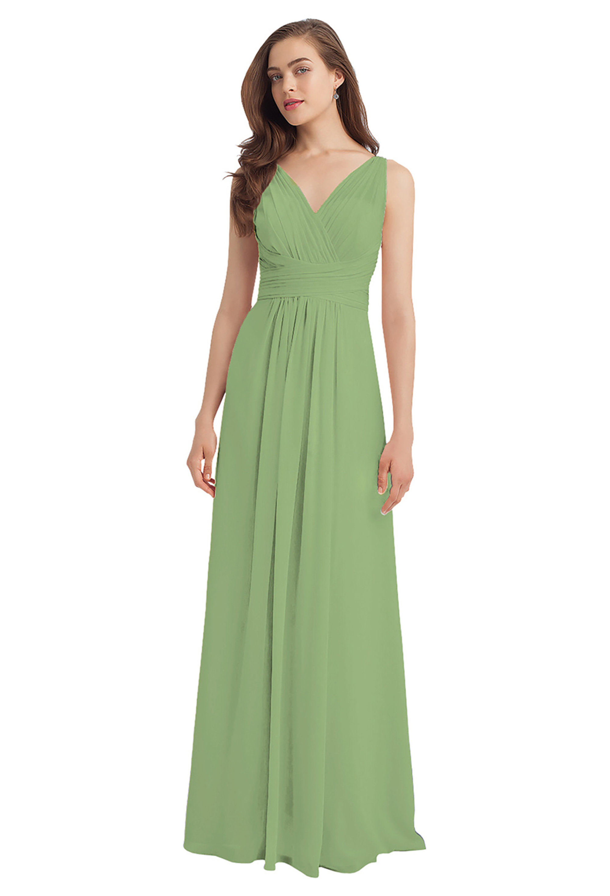 Bill Levkoff PISTACHIO Chiffon V-back A-line gown, $224.00 Front