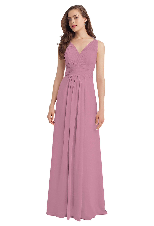 Bill Levkoff ROSEPETAL Chiffon V-back A-line gown, $224.00 Front