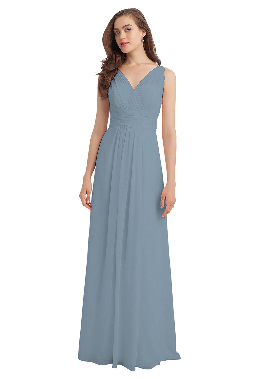 Bill Levkoff SLATE Chiffon V-back A-line gown, $224.00 Front