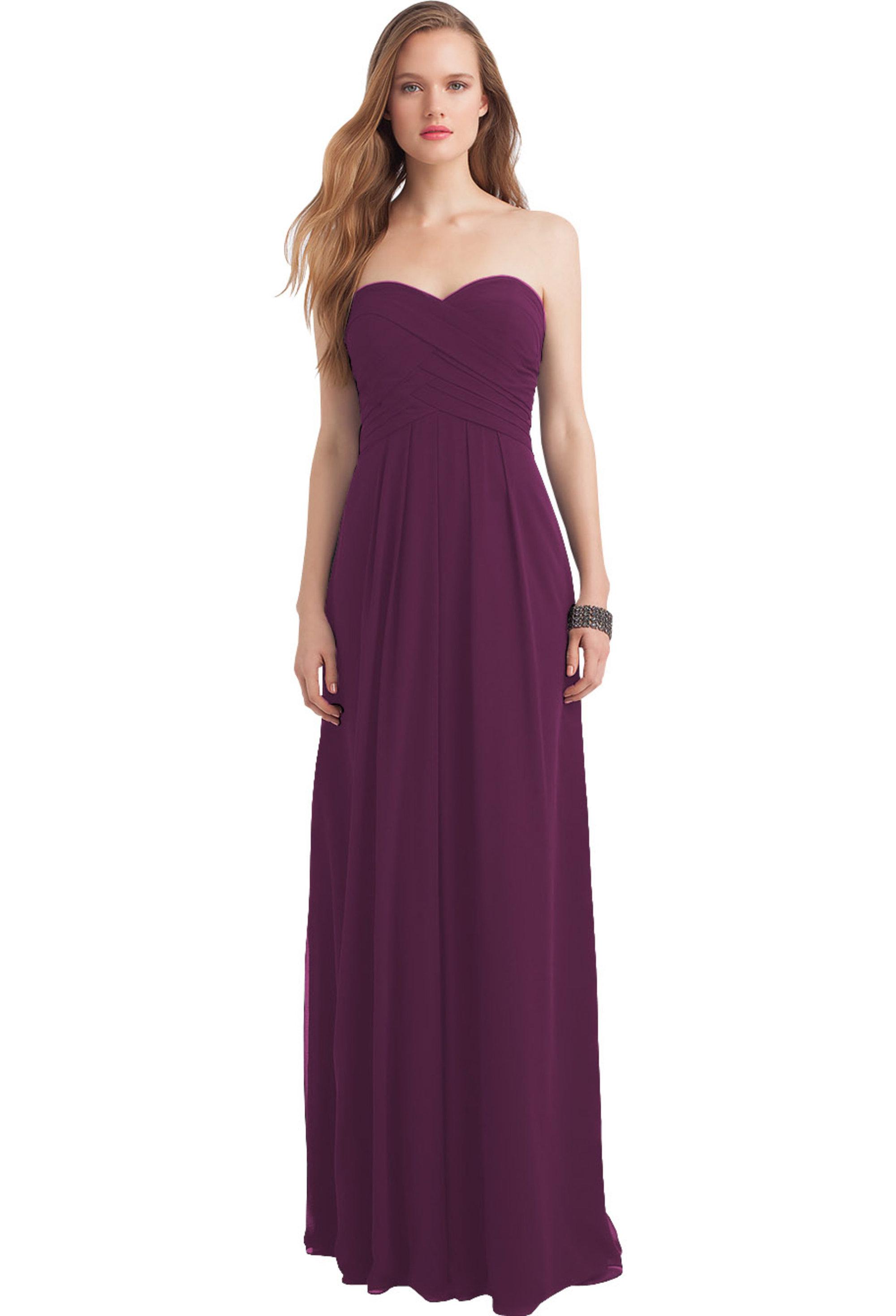 Bill Levkoff EGGPLANT Chiffon Sweetheart Floor Length gown, $216.00 Front