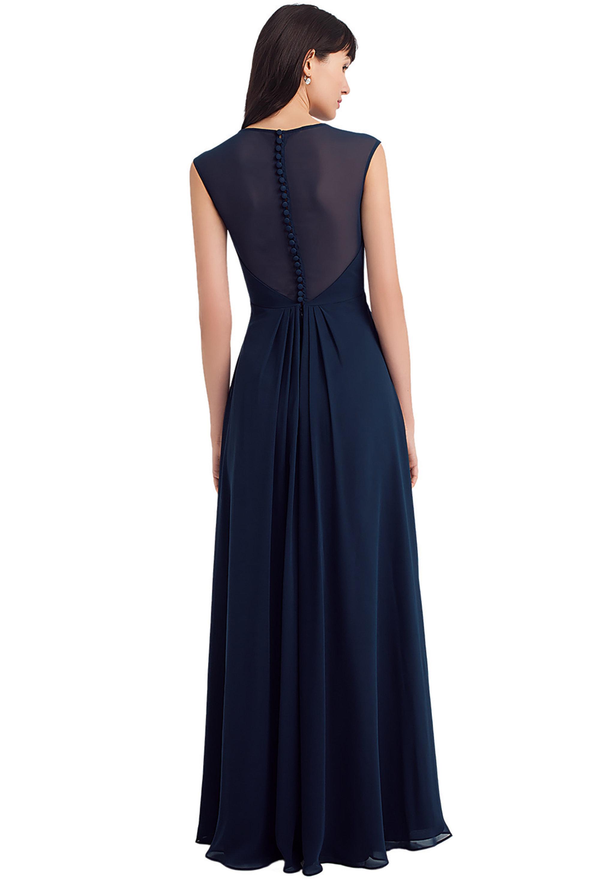Bill Levkoff NAVY Chiffon Sweetheart A-line gown, $220.00 Back