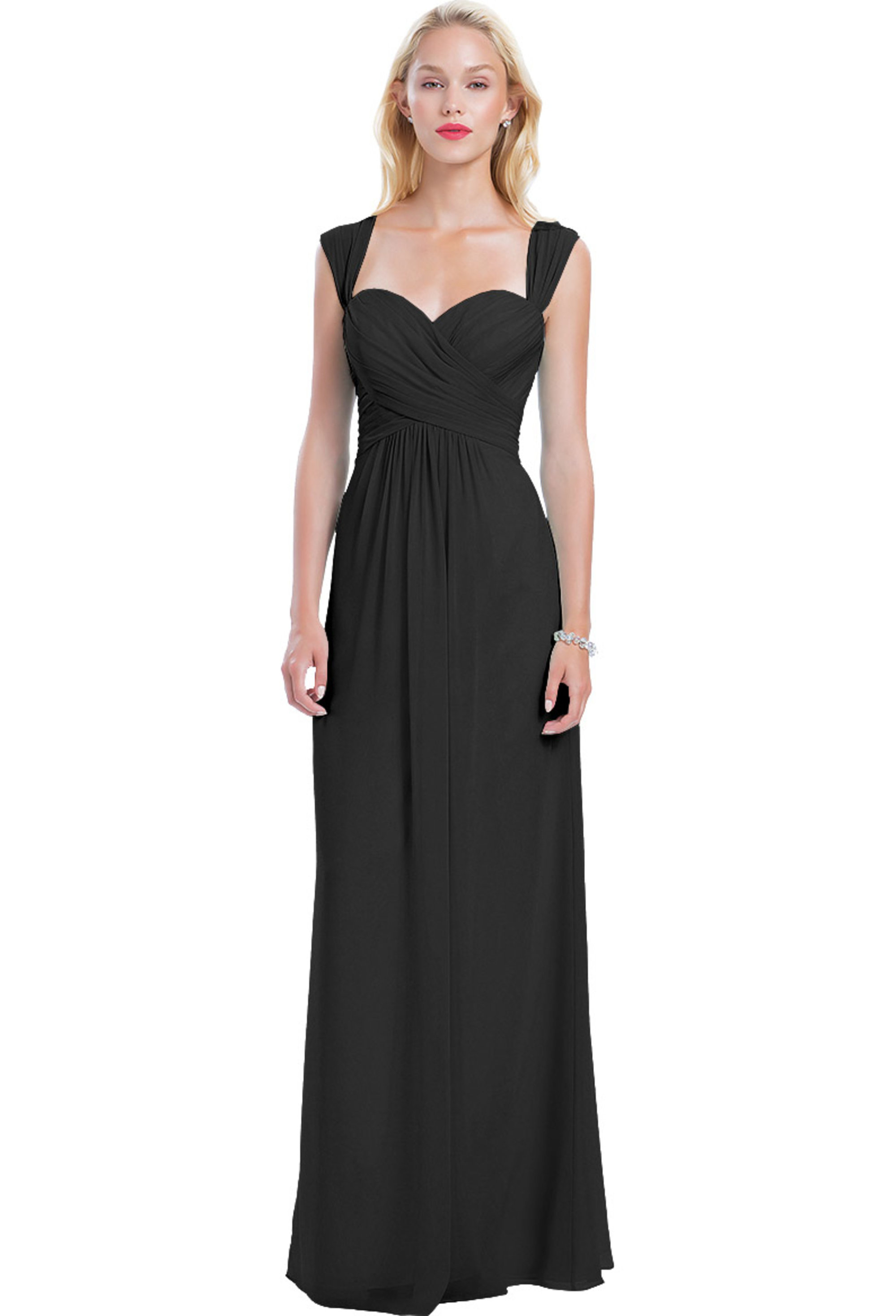Bill Levkoff BLACK Chiffon Sweetheart A-line gown, $210.00 Front