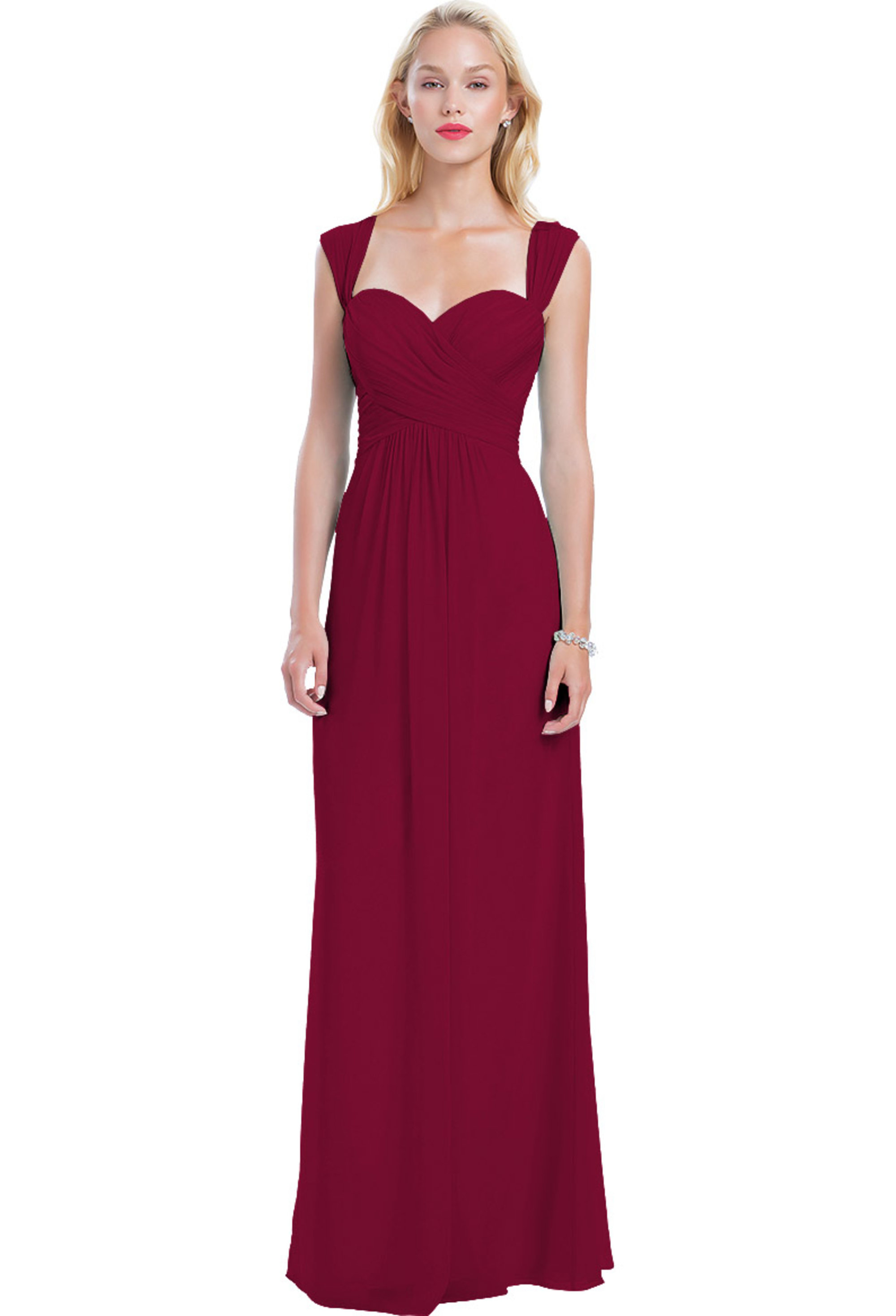 Bill Levkoff CRANBERRY Chiffon Sweetheart A-line gown, $210.00 Front