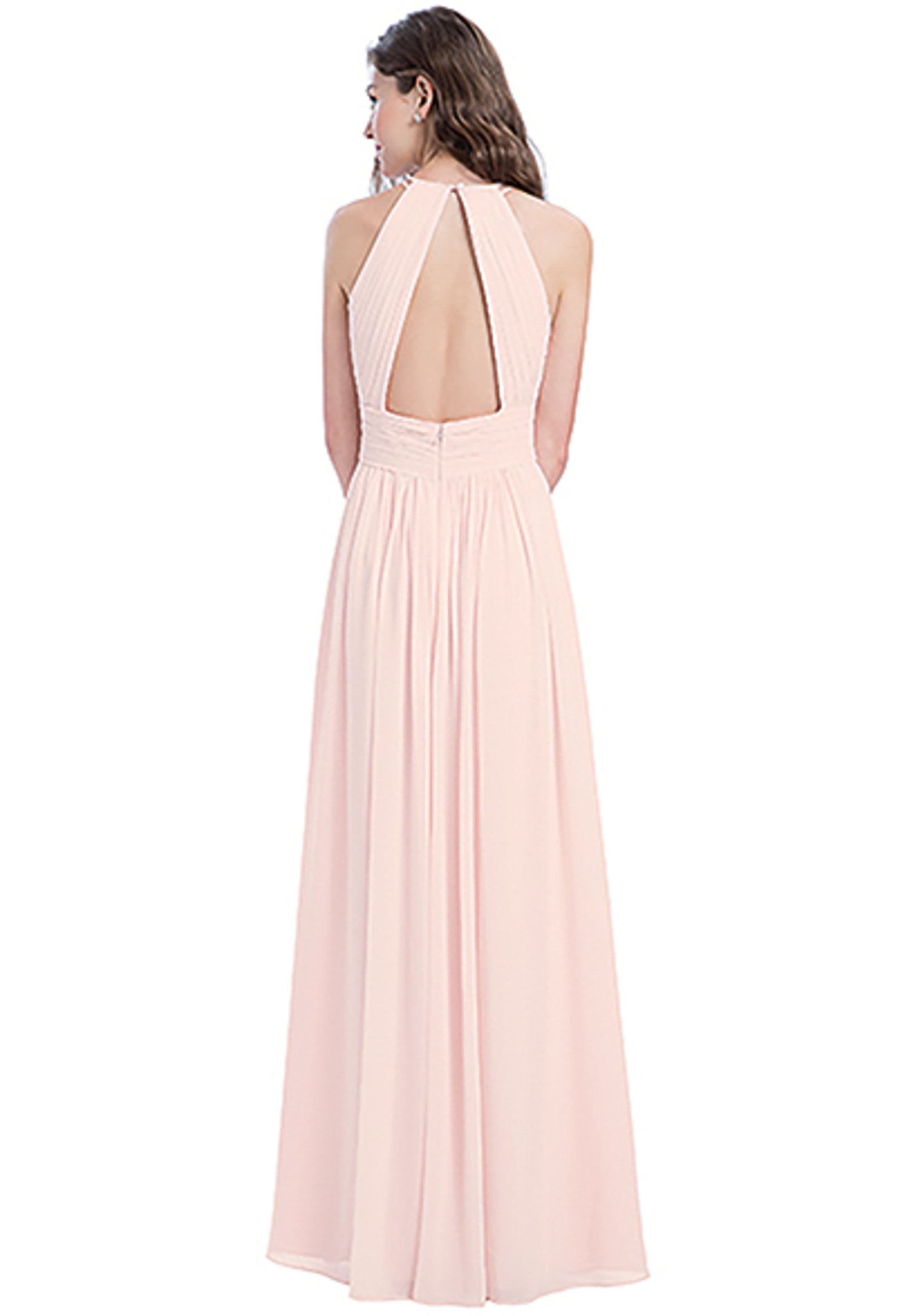 Bill Levkoff CHAMPAGNE Chiffon Sleeveless A-line gown, $240.00 Back