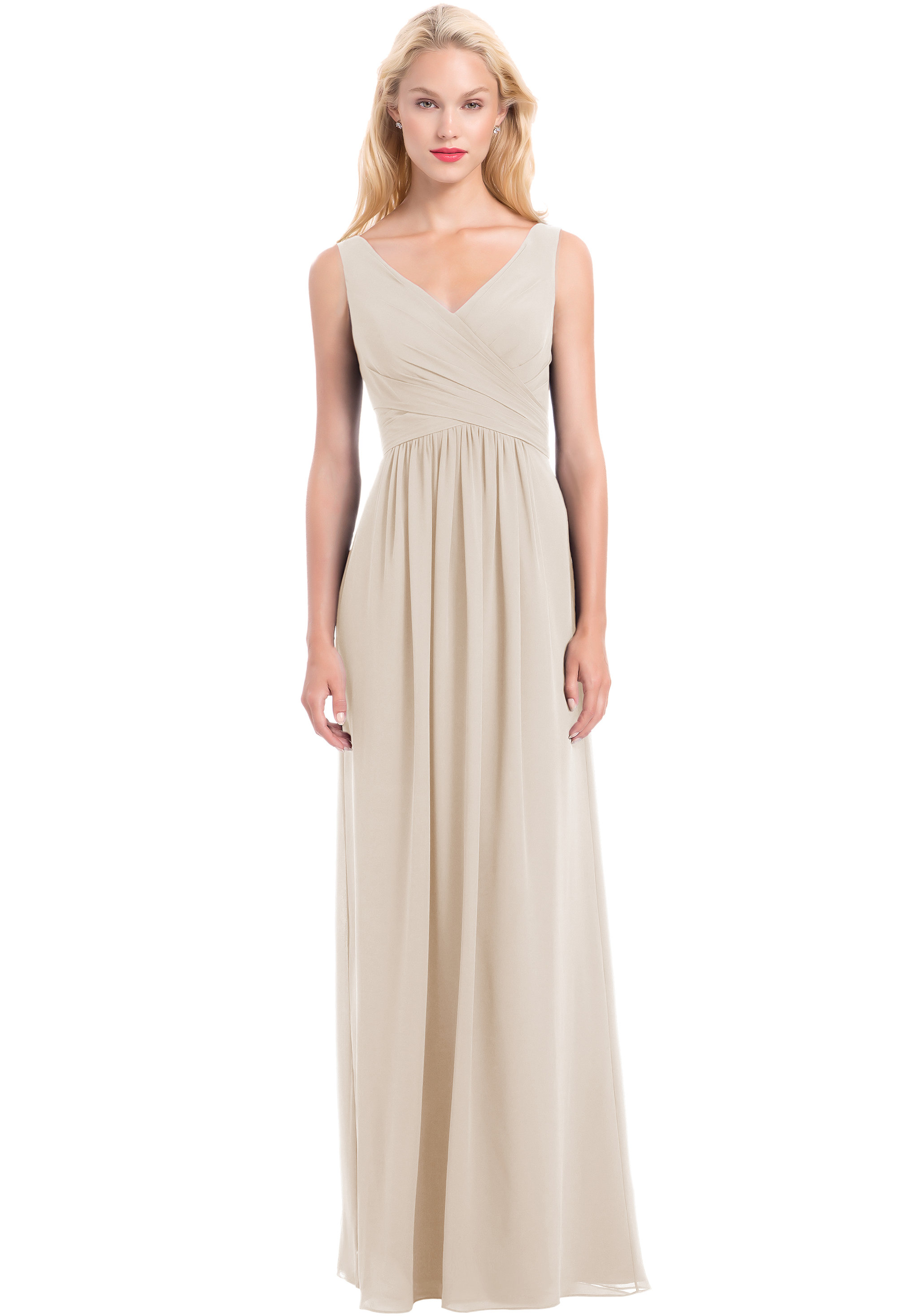 Bill Levkoff CHAMPAGNE Chiffon Sleeveless A-line gown, $210.00 Front
