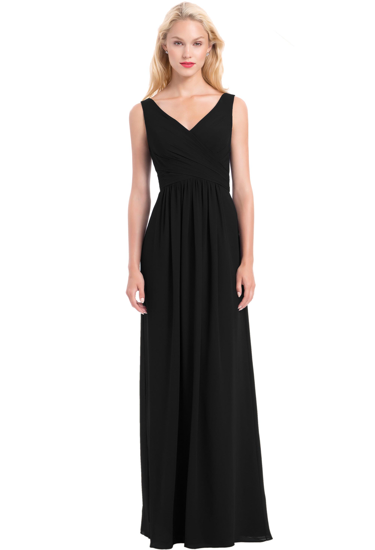Bill Levkoff BLACK Chiffon Sleeveless A-line gown, $210.00 Front