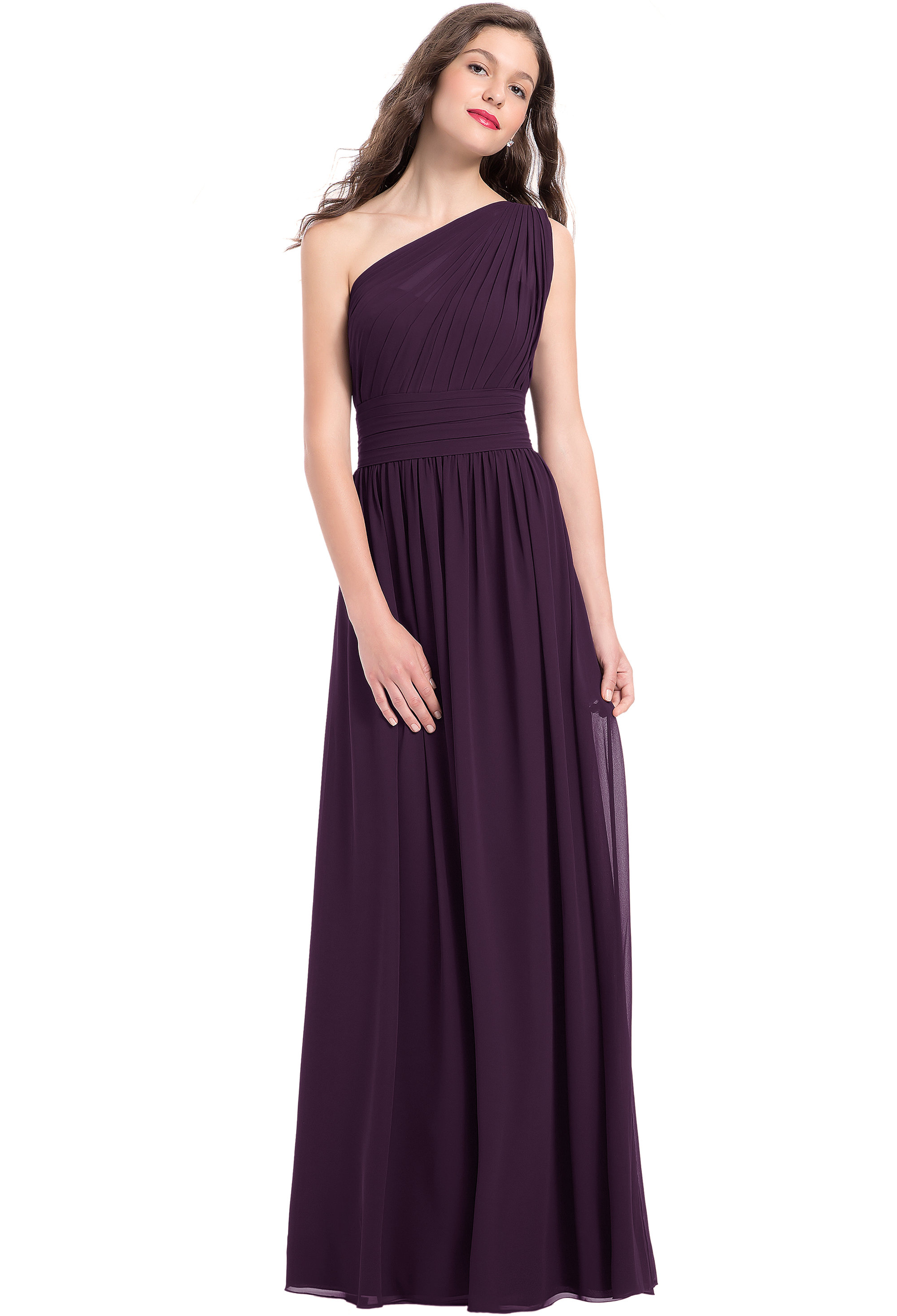 Bill Levkoff PLUM Chiffon One Shoulder A-line gown, $224.00 Front