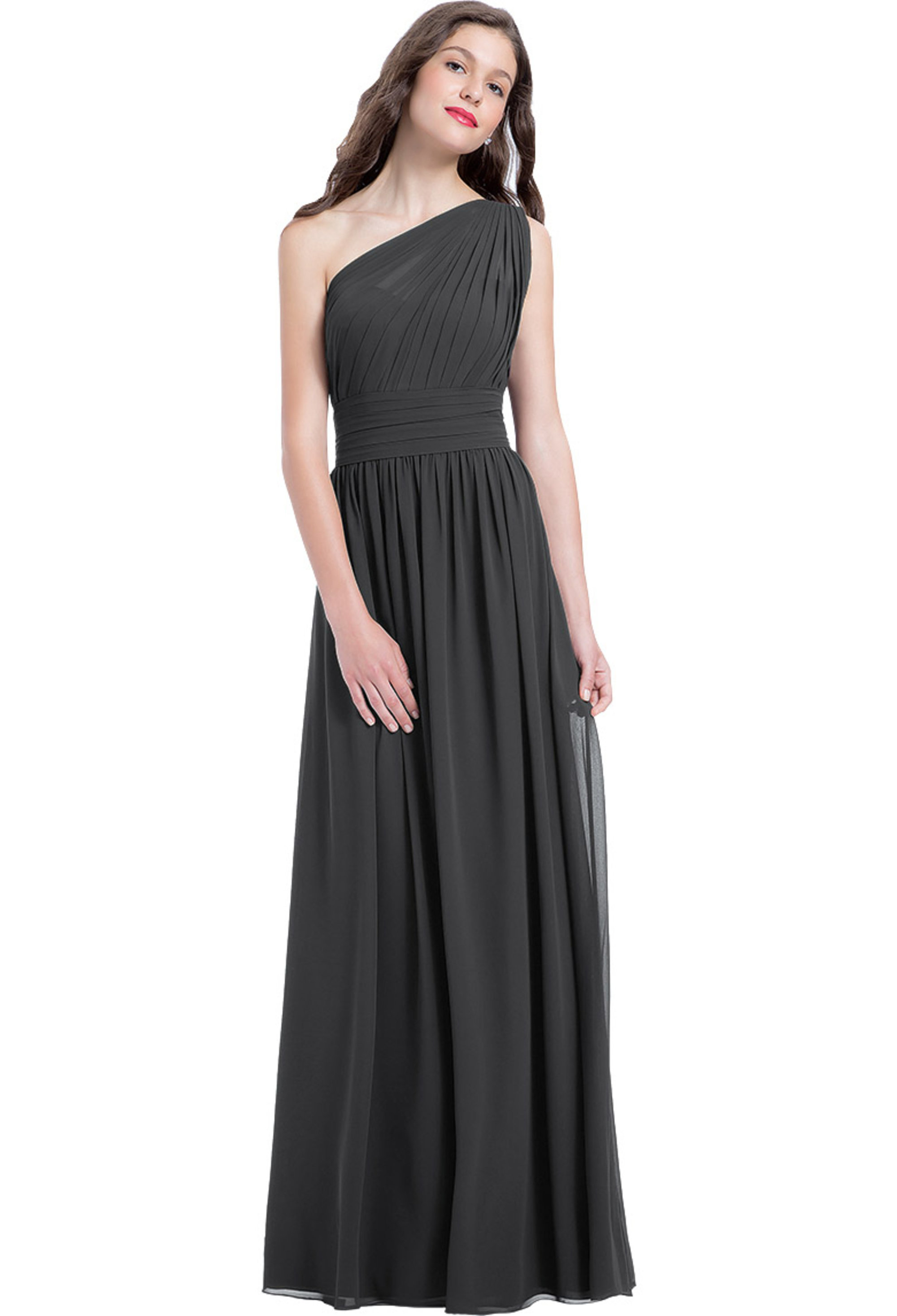 Bill Levkoff CHARCOAL Chiffon One Shoulder A-line gown, $224.00 Front