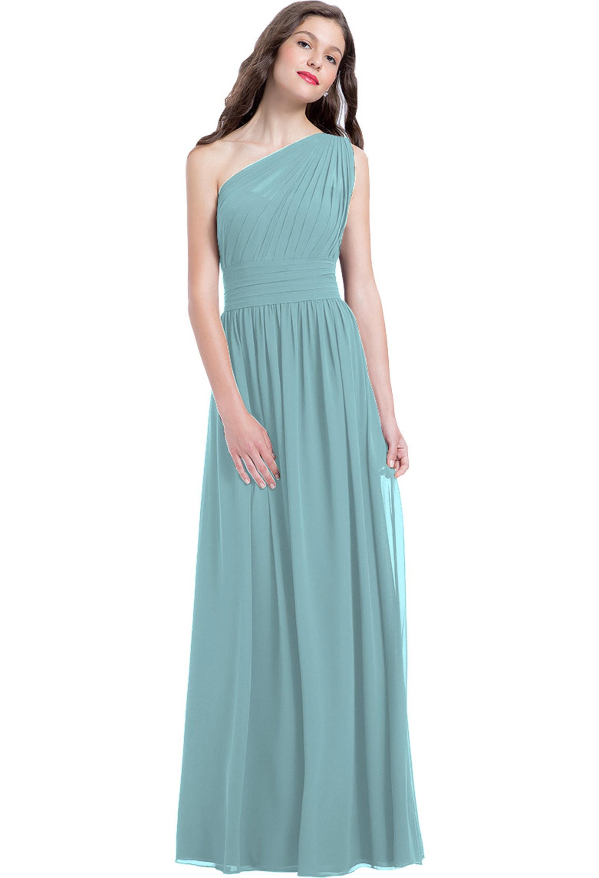 Bill Levkoff GLACIER Chiffon One Shoulder A-line gown, $224.00 Front