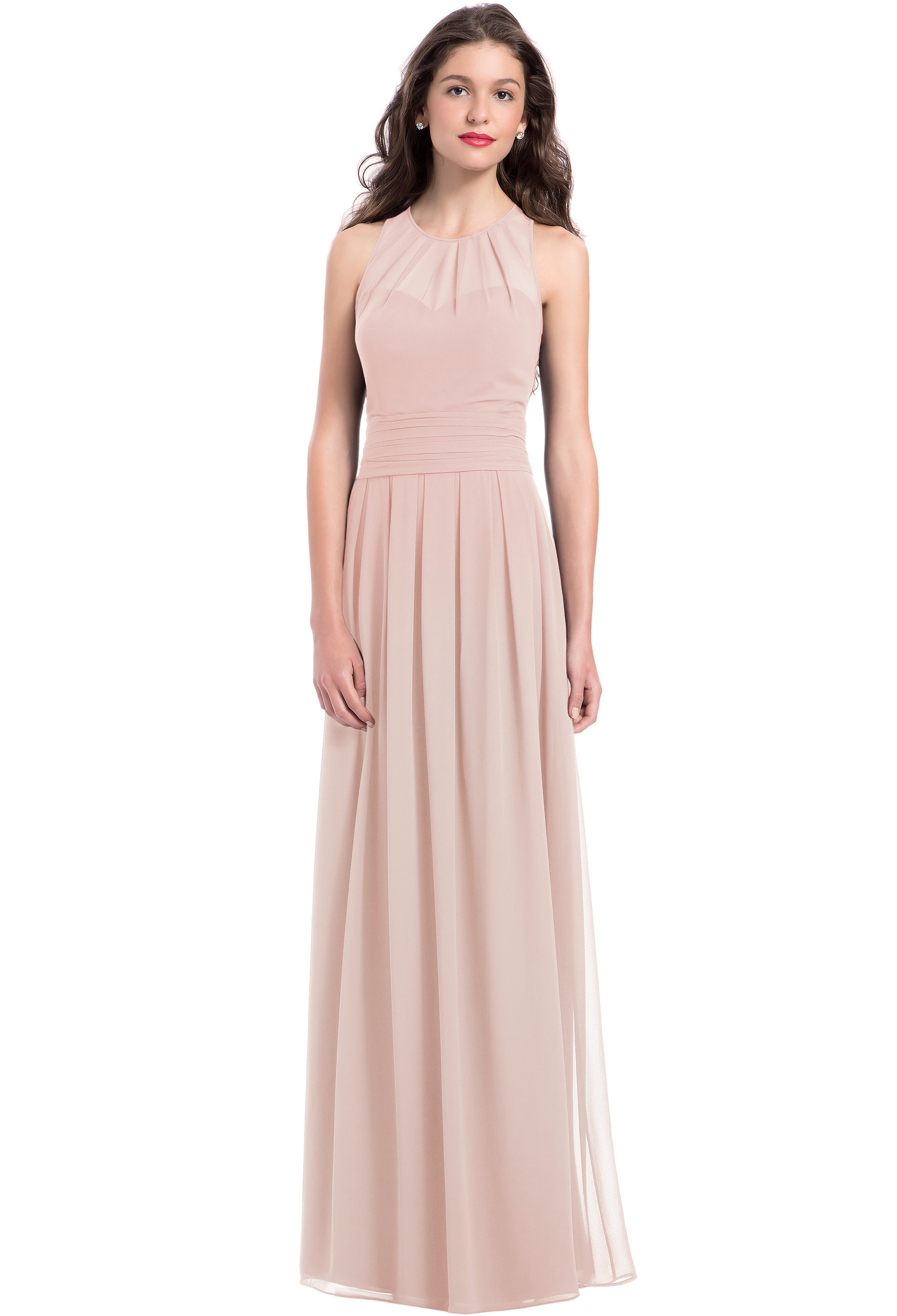 Bill Levkoff FROST ROSE Chiffon Jewel A-line gown, $220.00 Front